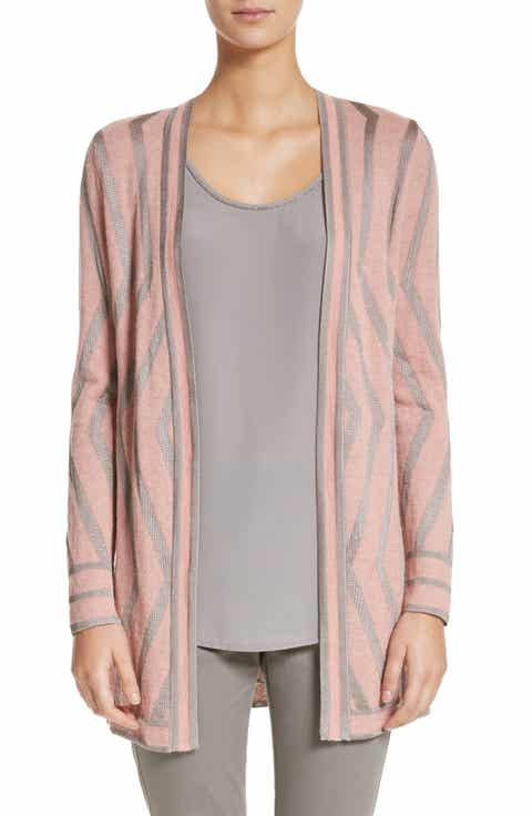 St. John Collection Matte Shine Geo Jacquard Knit Cardigan