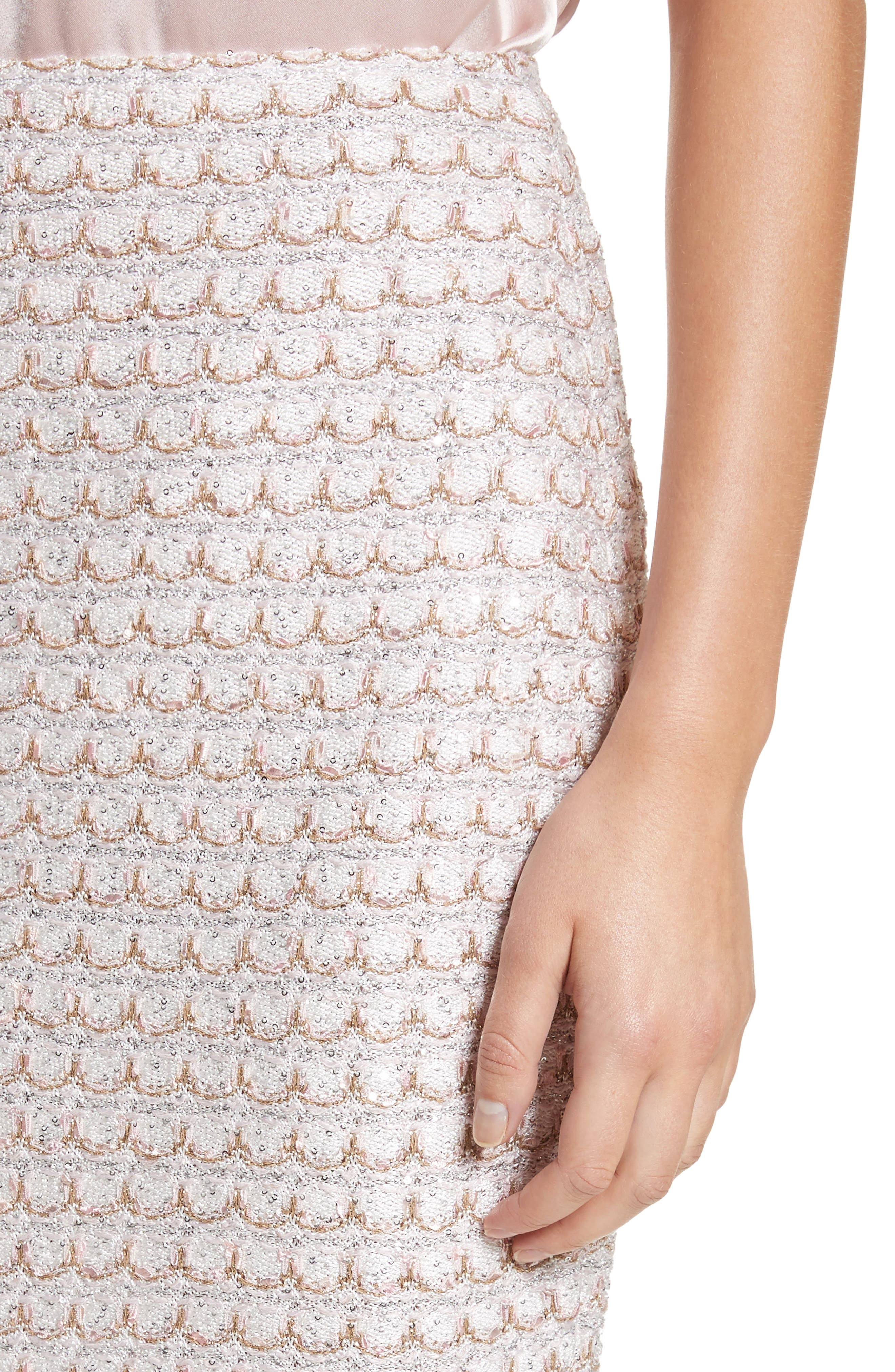 Sequin Scallop Tweed Pencil Skirt,                             Alternate thumbnail 4, color,                             Bianco Multi