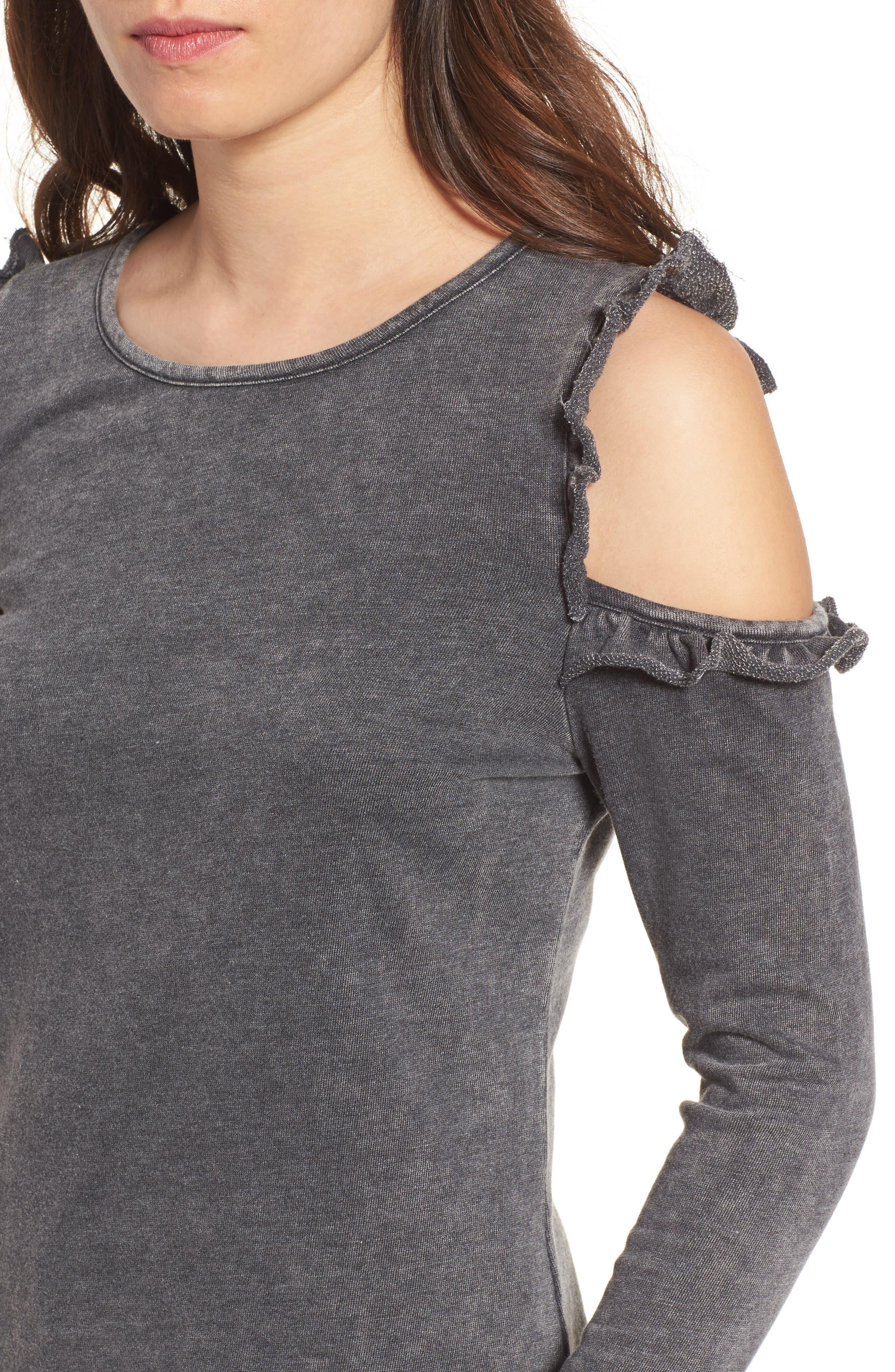 Alternate Image 4  - Love, Fire Ruffle Cold Shoulder Sweatshirt