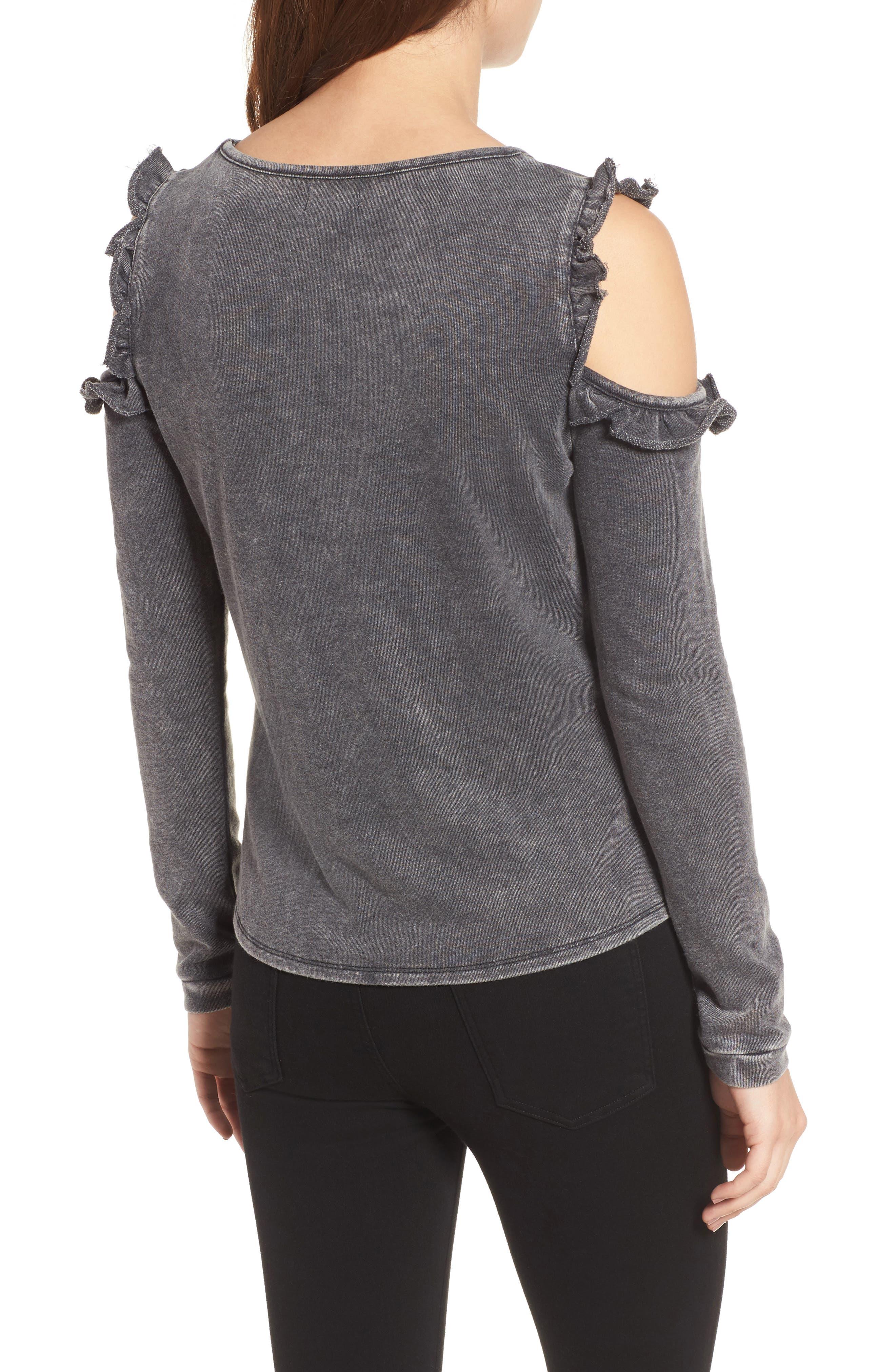 Alternate Image 2  - Love, Fire Ruffle Cold Shoulder Sweatshirt