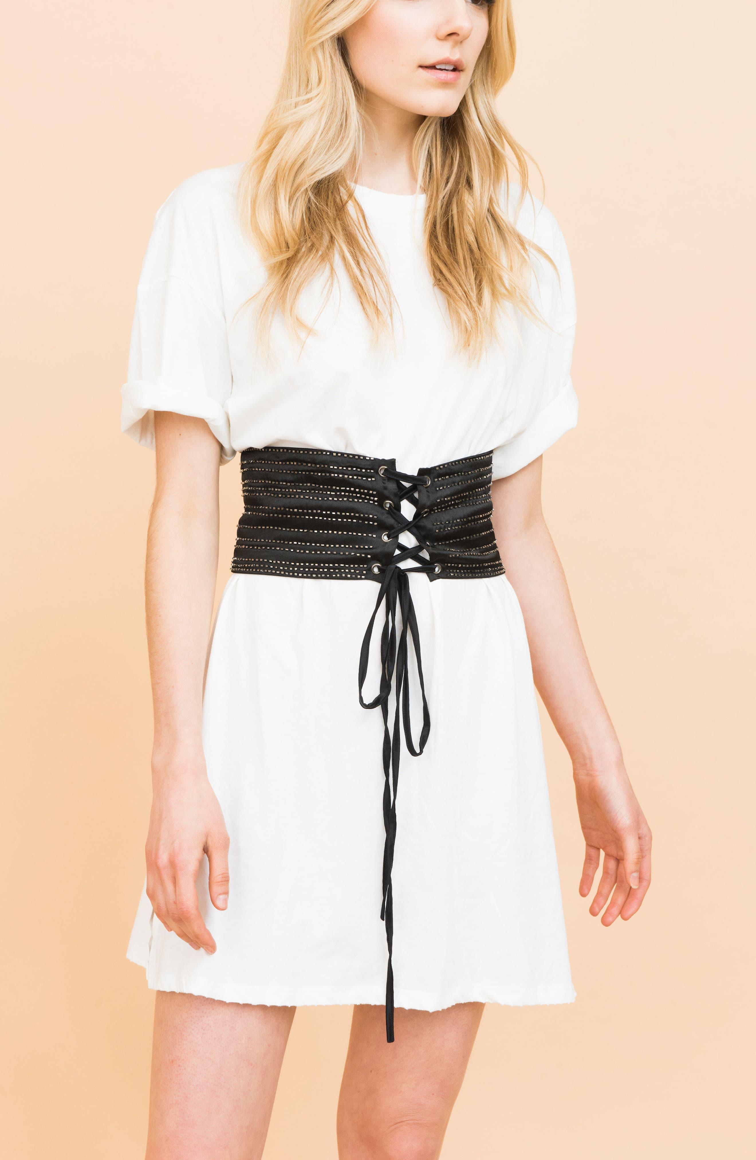 Beaded Silk Corset Belt,                             Alternate thumbnail 3, color,                             Black