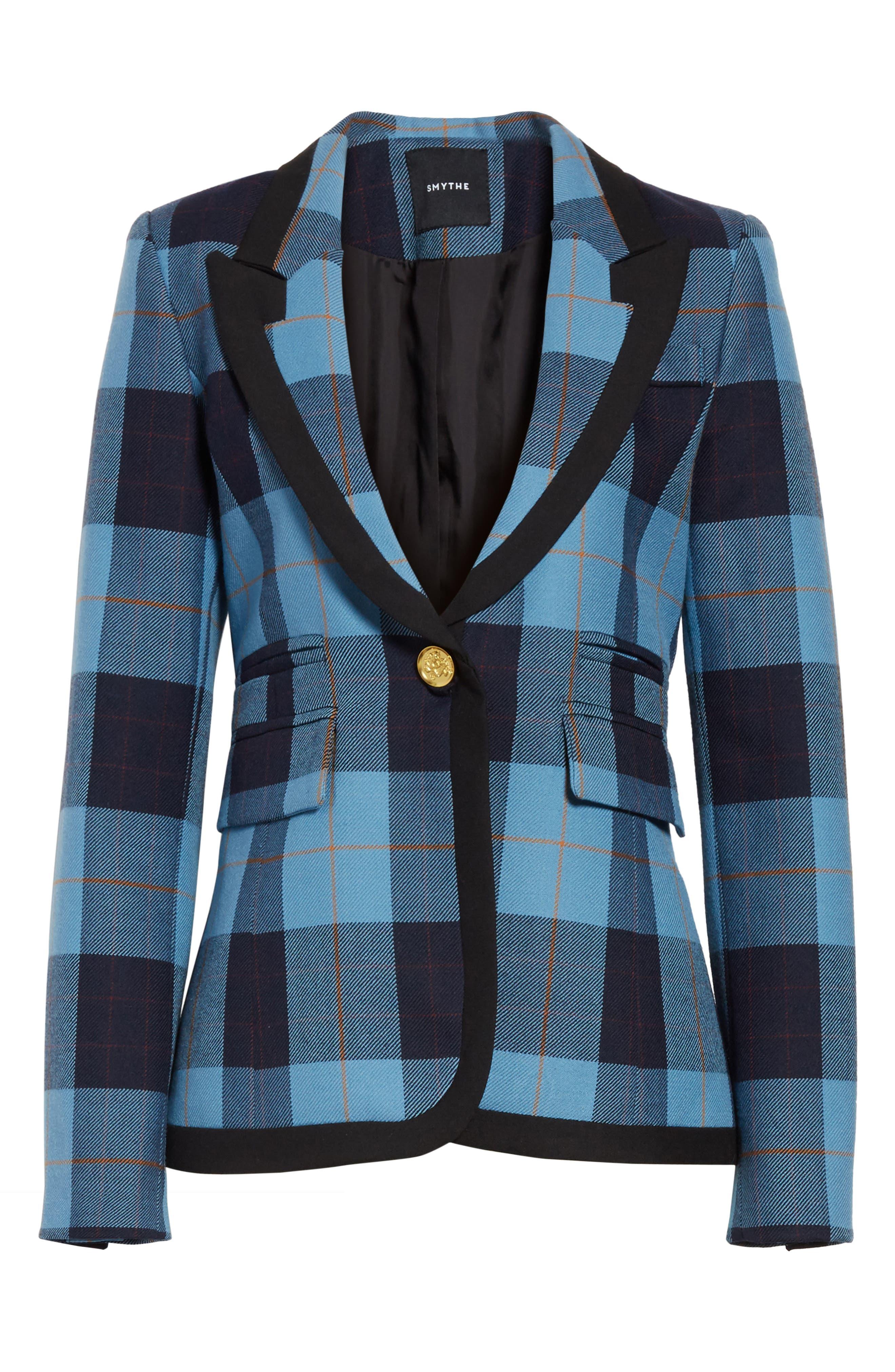 Taped Peak Lapel Plaid Blazer,                             Alternate thumbnail 6, color,                             Blue Plaid W/ Black