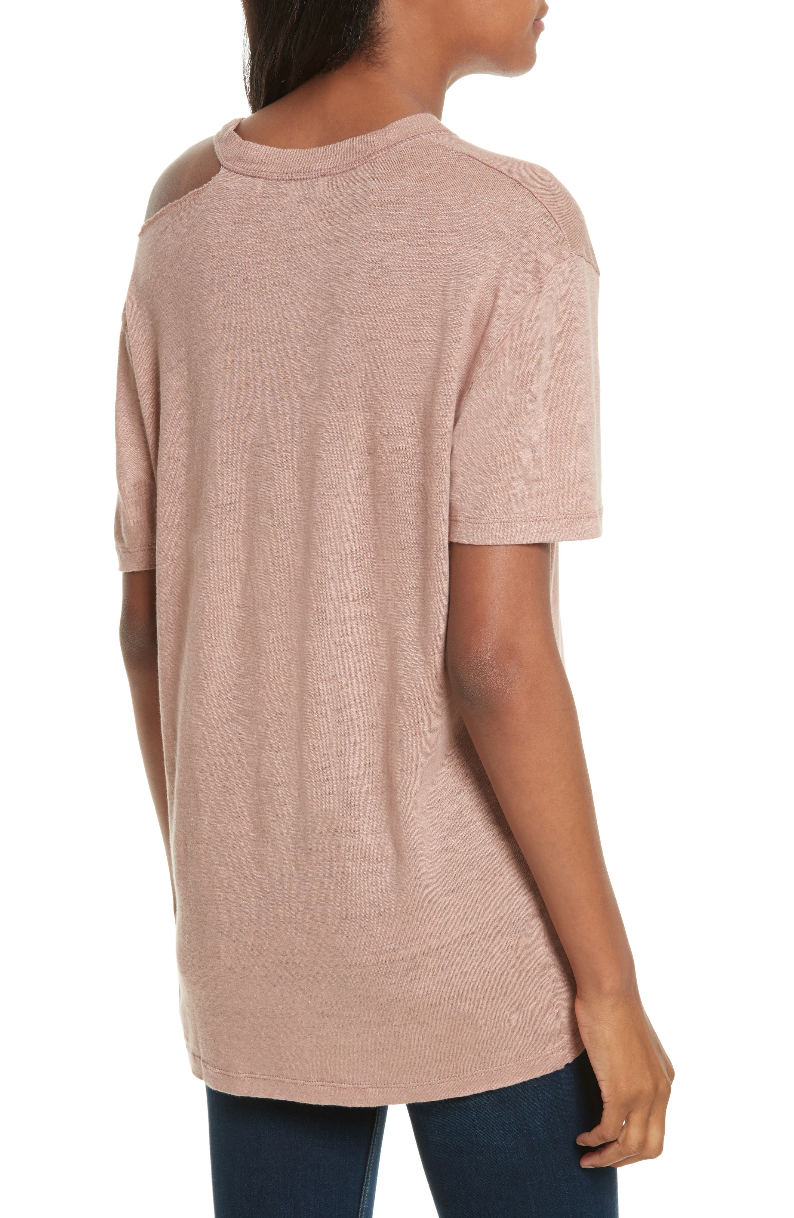 Bacau Cold Shoulder Linen Tee,                             Alternate thumbnail 2, color,                             Old Pink
