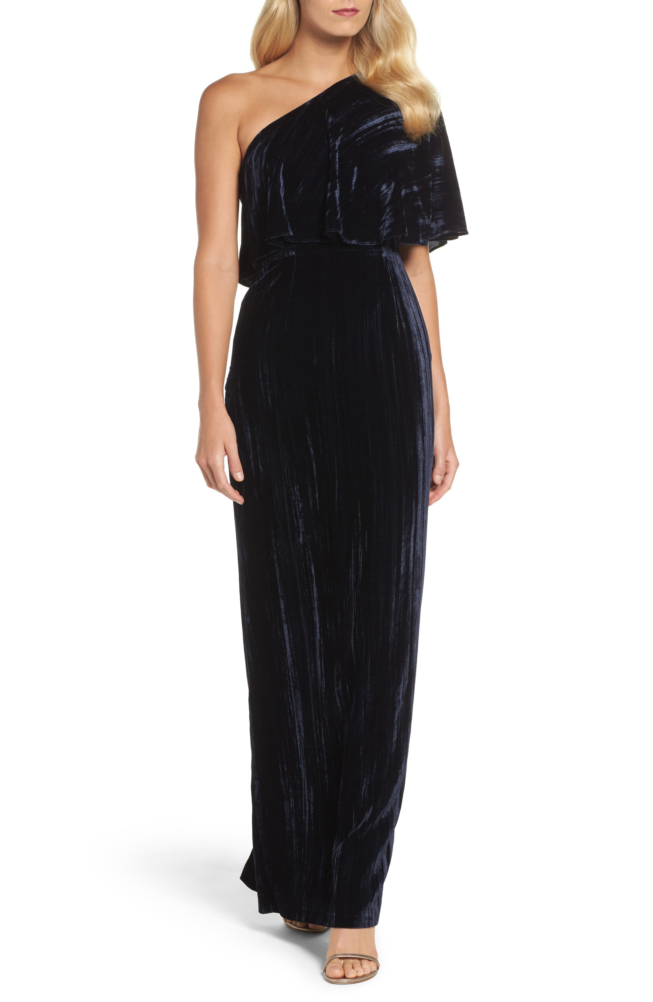One-Shoulder Velvet Gown,                             Main thumbnail 1, color,                             Navy