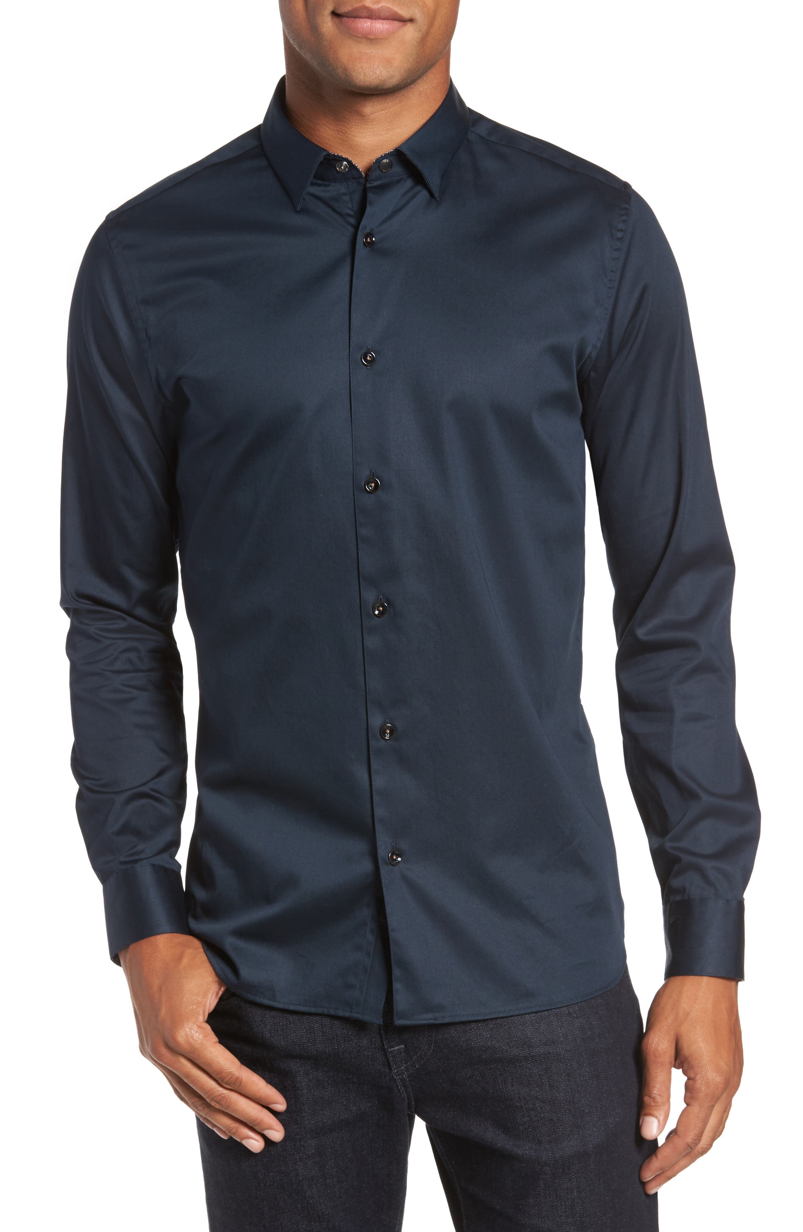 Marsay Modern Slim Fit Sport Shirt,                         Main,                         color, Navy