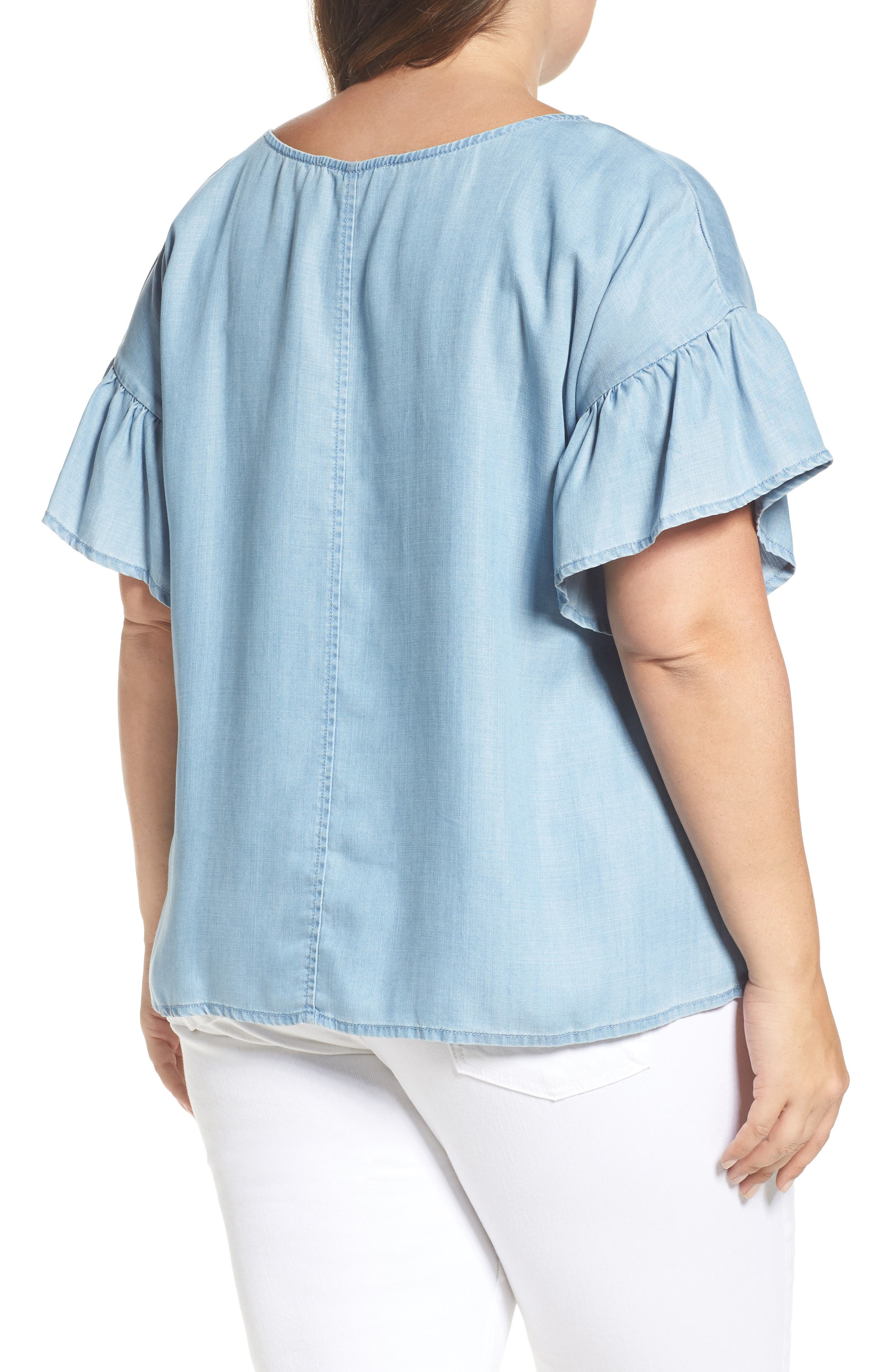 Alternate Image 2  - Two by Vince Camuto Ruffle Sleeve Chambray Top (Plus Size)