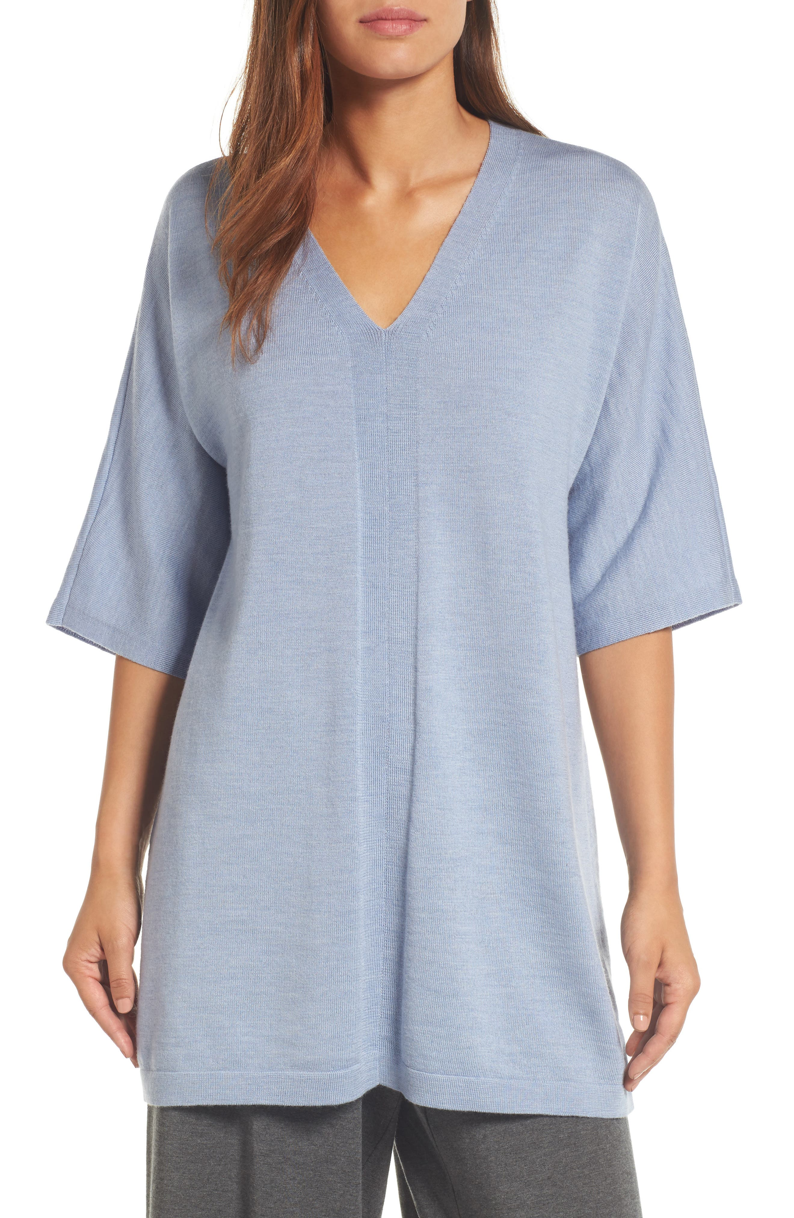Alternate Image 1 Selected - Eileen Fisher Merino Wool Tunic Sweater