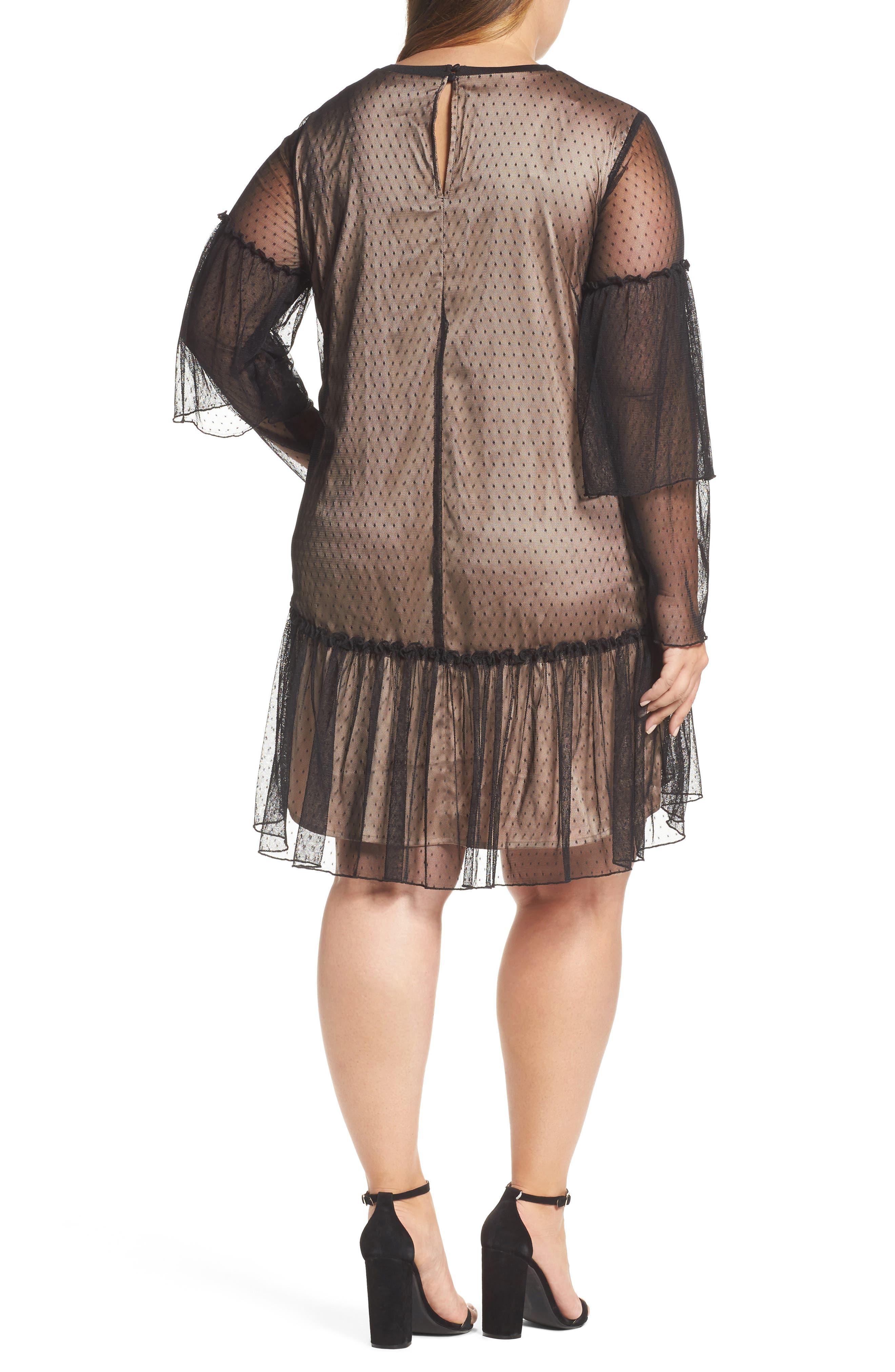 Polka Dot Net Shift Dress,                             Alternate thumbnail 2, color,                             Black