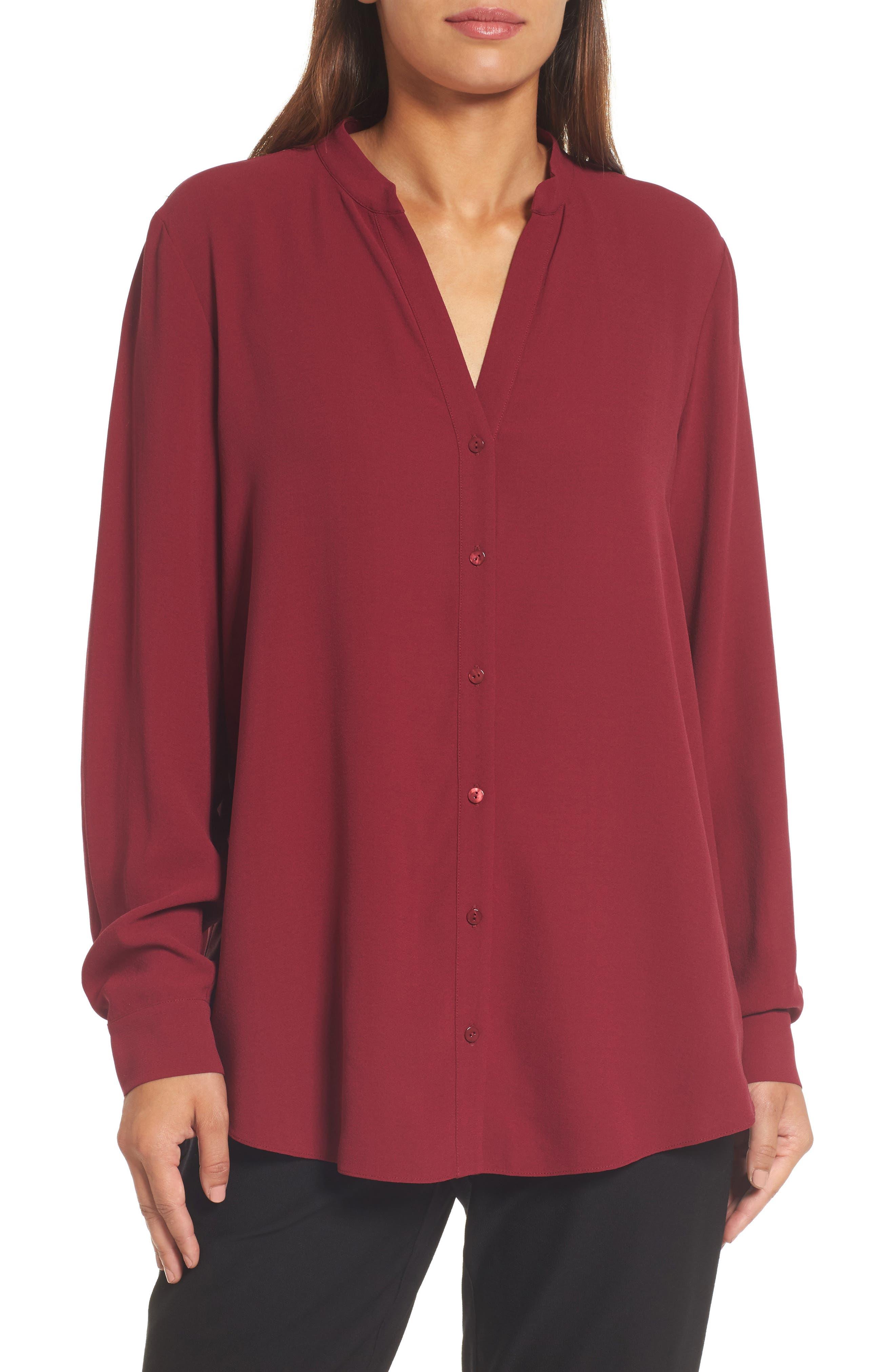 Silk Blouse,                         Main,                         color, Hibiscus