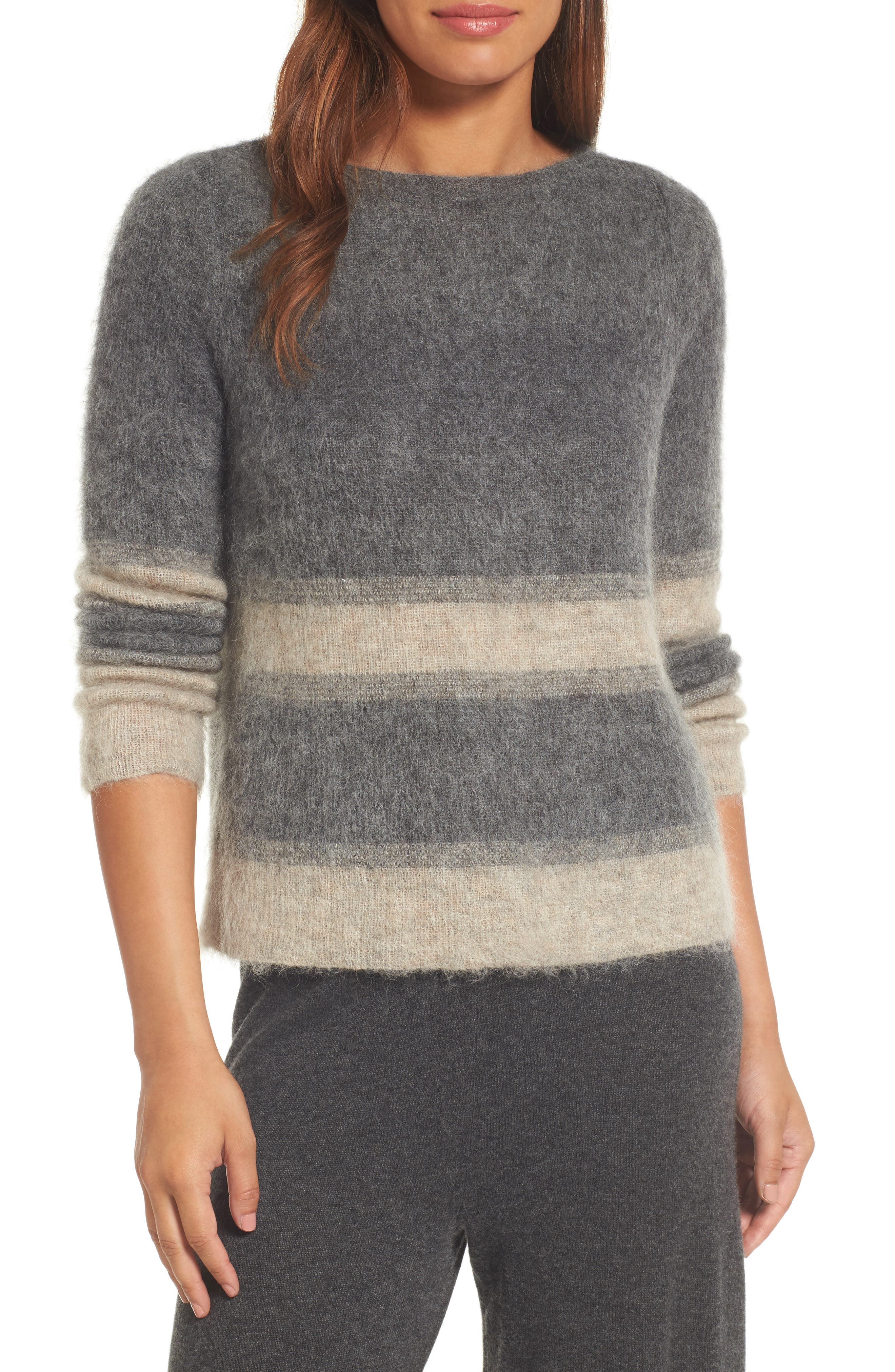 Alternate Image 1 Selected - Eileen Fisher Stripe Mohair & Alpaca Blend Bateau Neck Sweater
