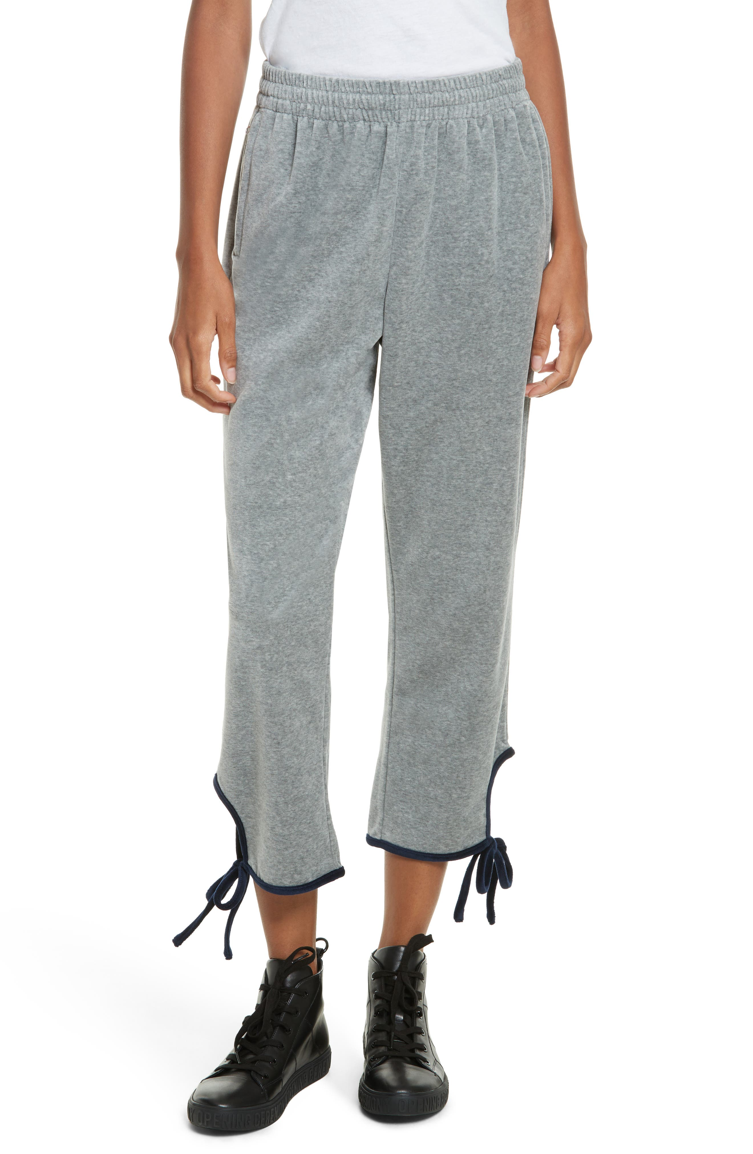 Velour Tie Track Pants,                         Main,                         color, Heather Grey