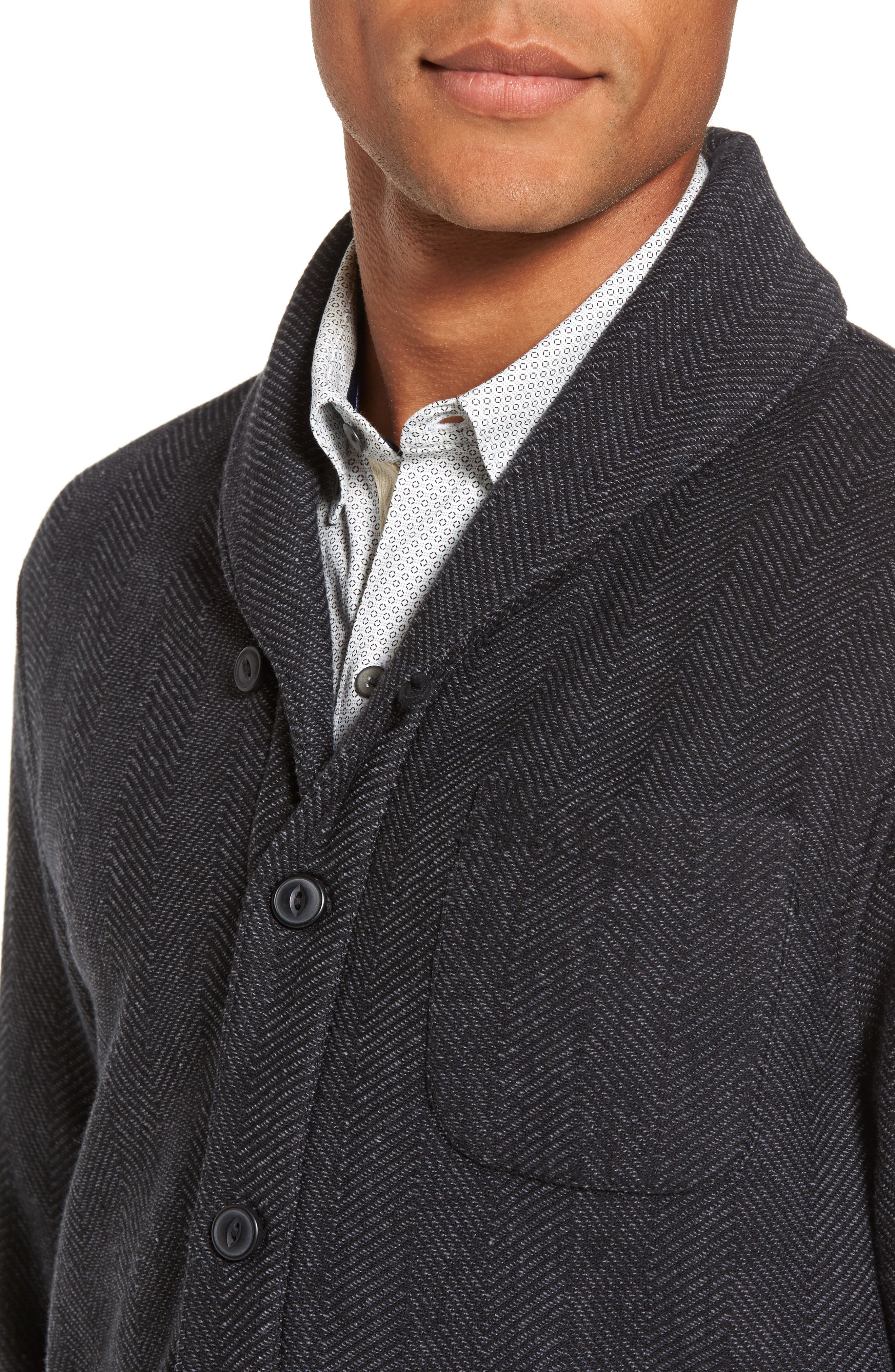 Fleece Lined Shawl Collar Cardigan,                             Alternate thumbnail 4, color,                             Grey Phantom Herringbone