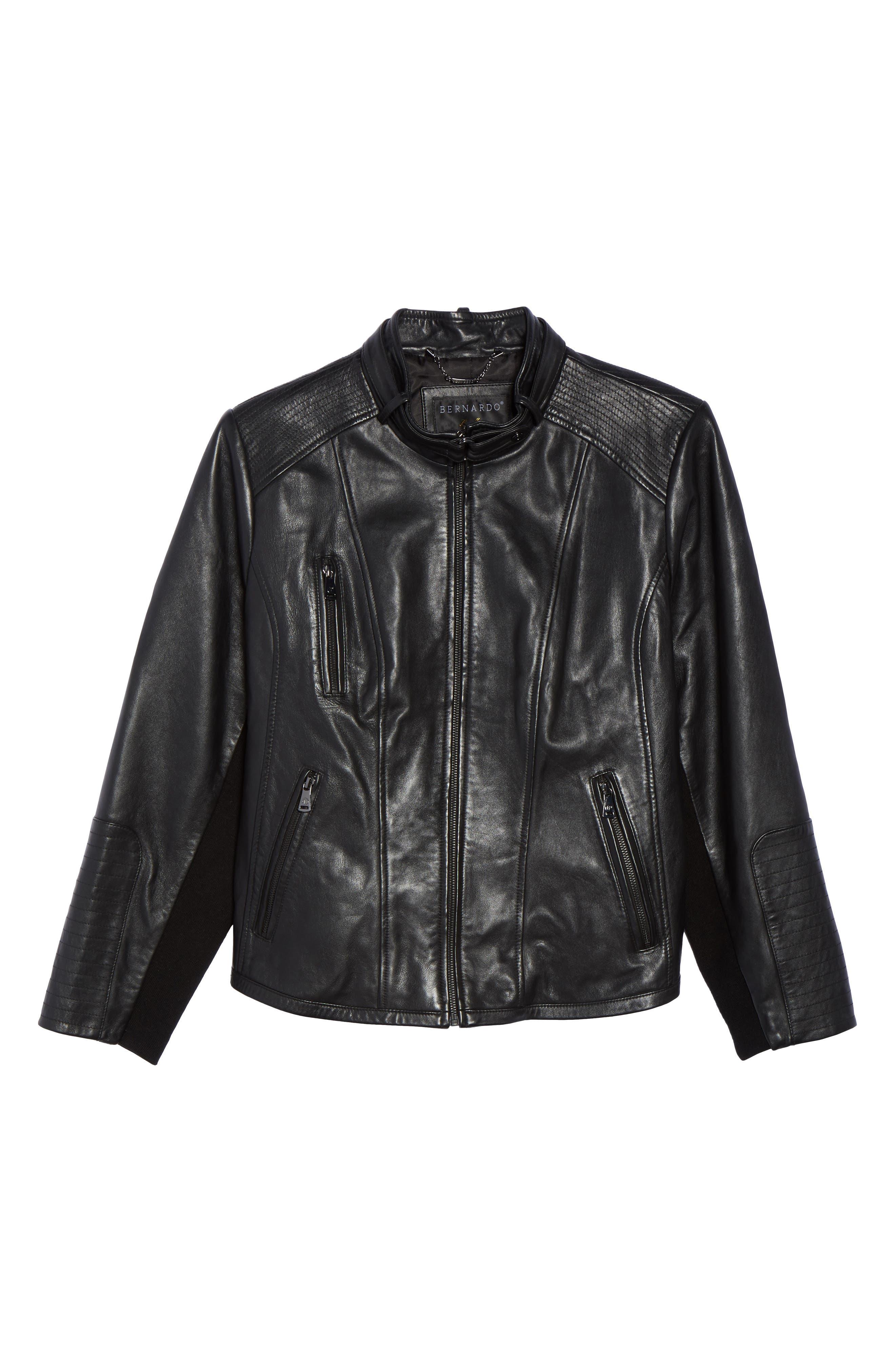 Alternate Image 6  - Bernardo Leather Moto Jacket (Plus Size)