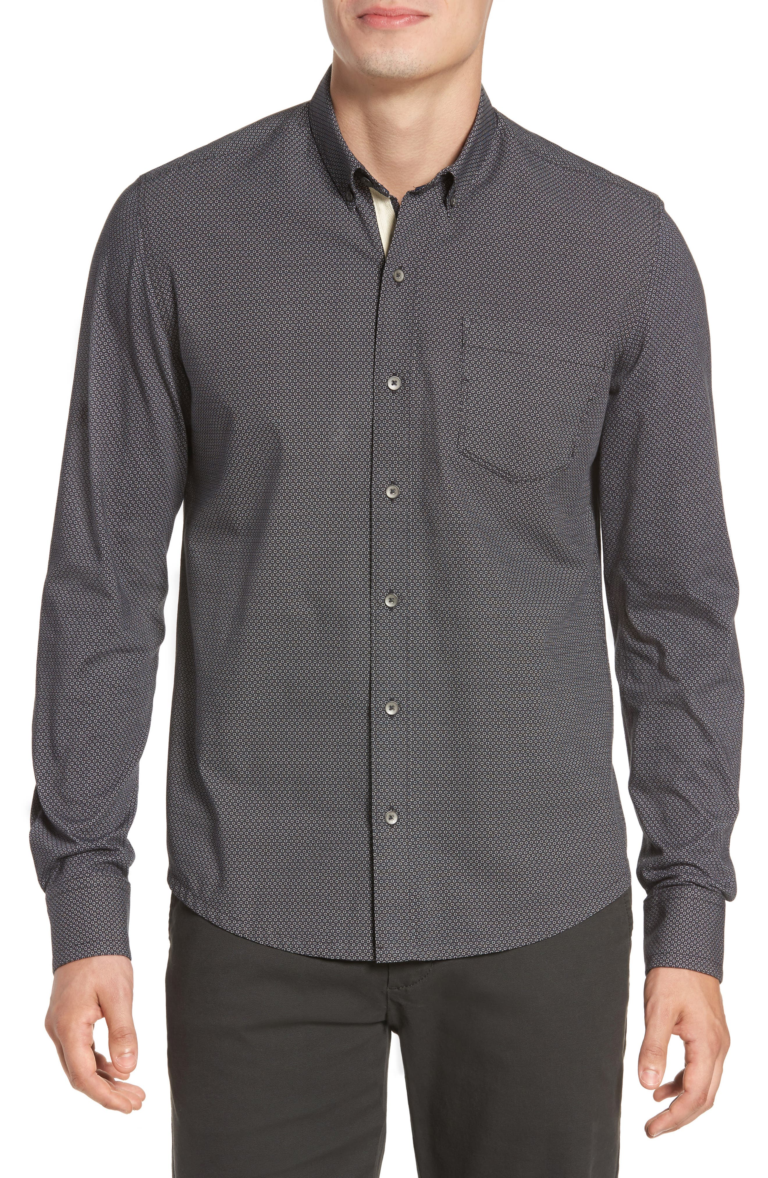 Reworked Snow Crystal Sport Shirt,                         Main,                         color, Black