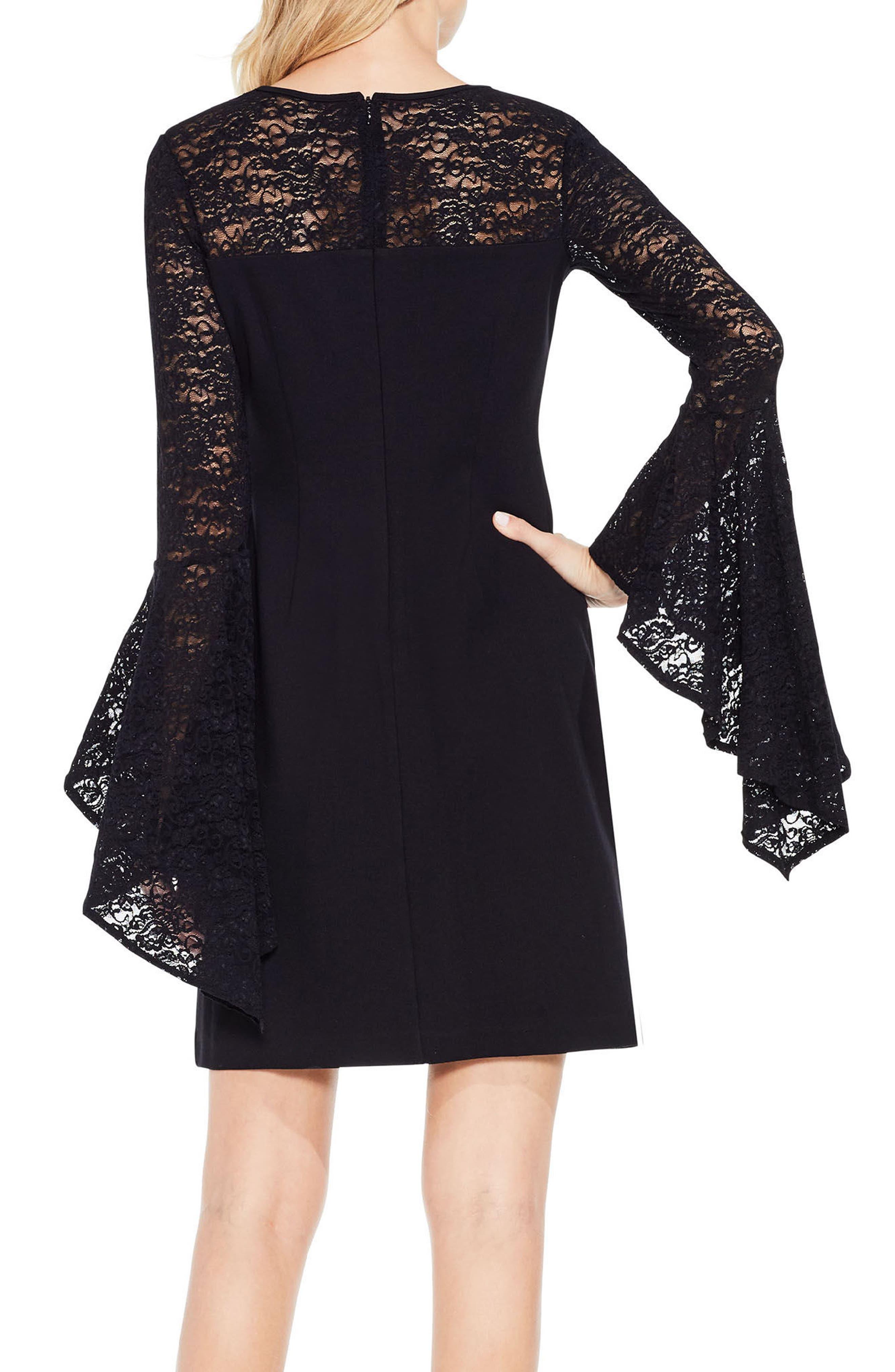 Handkerchief Lace Ponte Dress,                             Alternate thumbnail 3, color,                             Rich Black