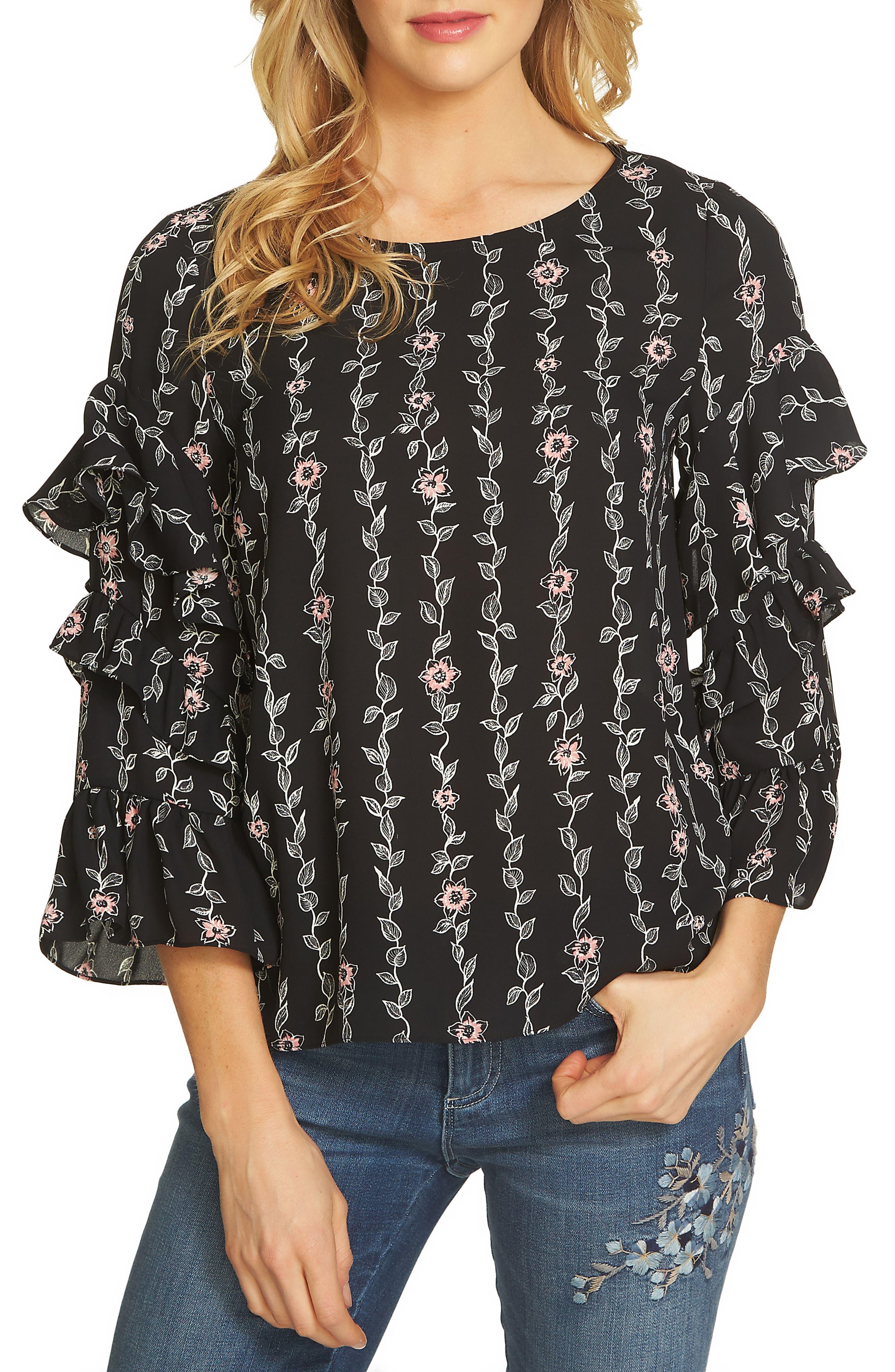 Printed Ruffle Sleeve Blouse,                         Main,                         color, Rich Black