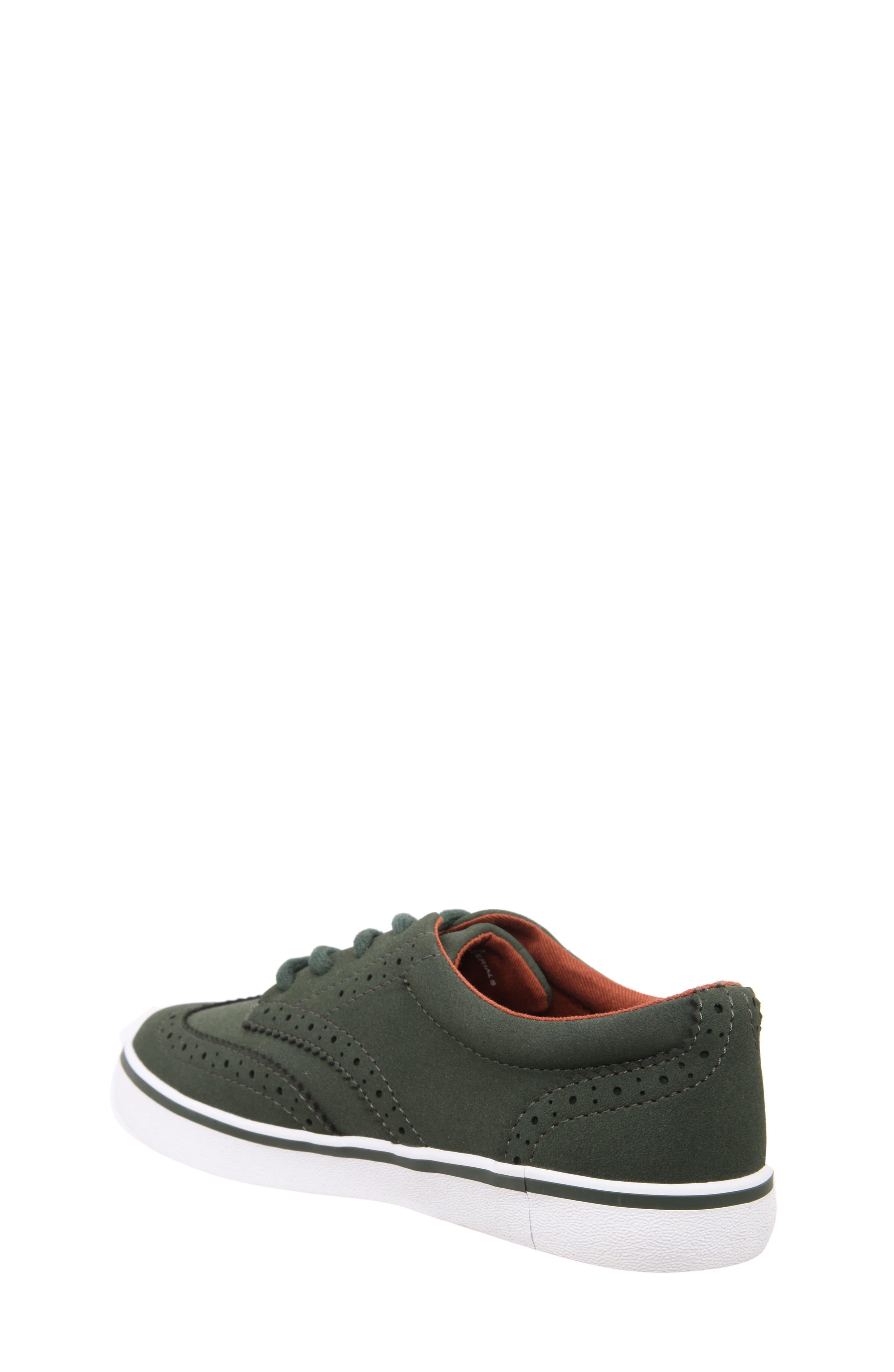 Wingtip Sneaker,                             Alternate thumbnail 2, color,                             Olive Faux Suede