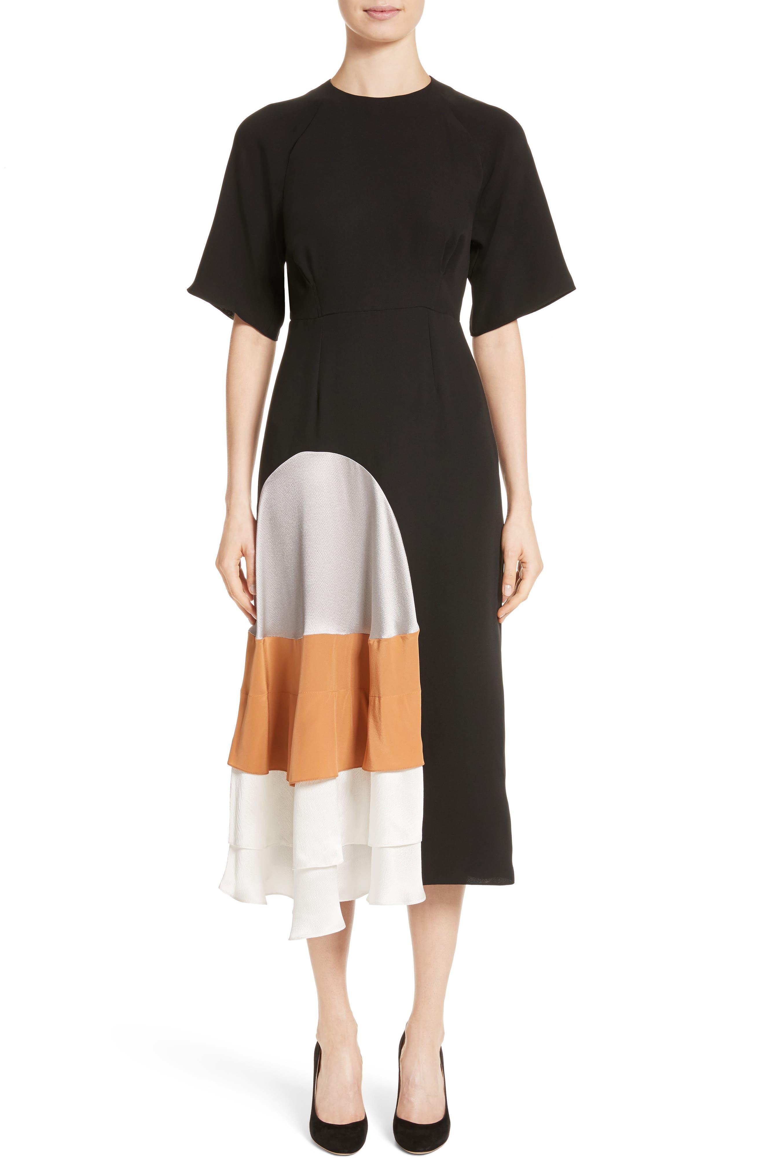 Rauma Silk Dress,                         Main,                         color, Black/ Silver/ Sand/ Ivory