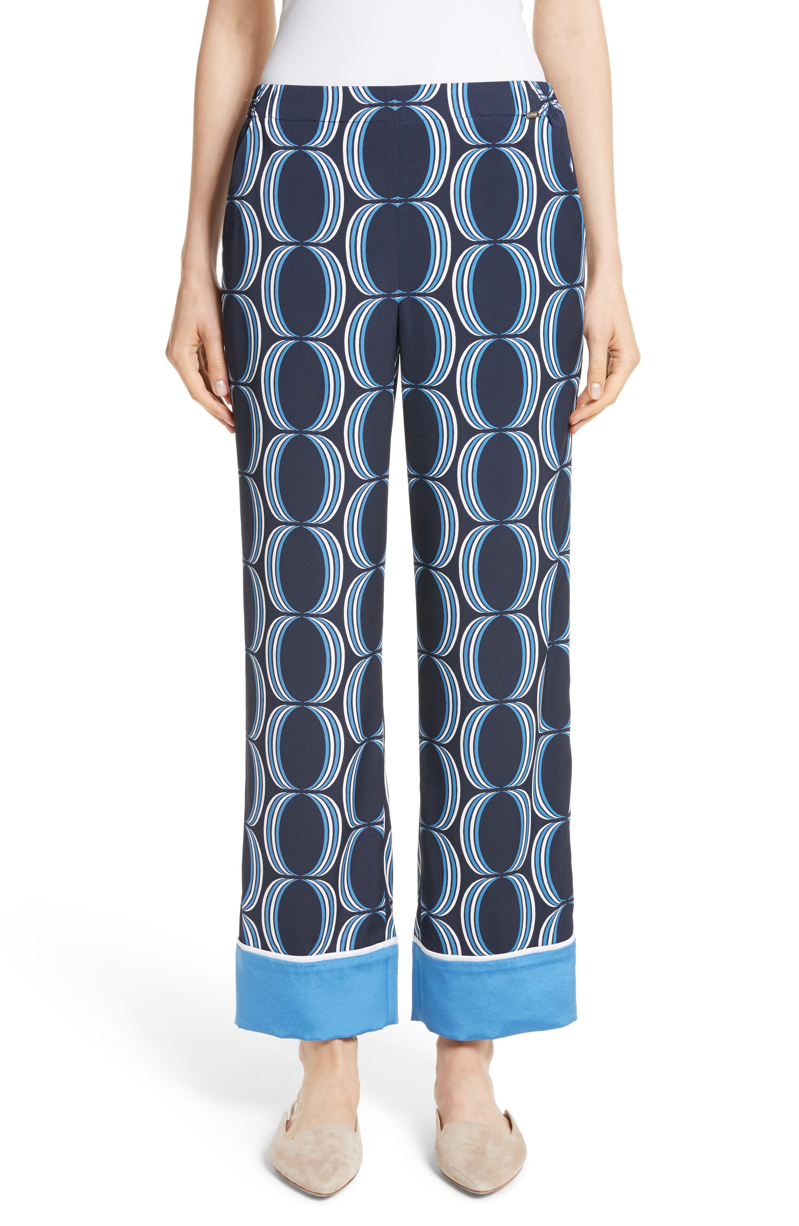 Oval Print Stretch Silk Twill Pants,                             Main thumbnail 1, color,                             Navy Multi