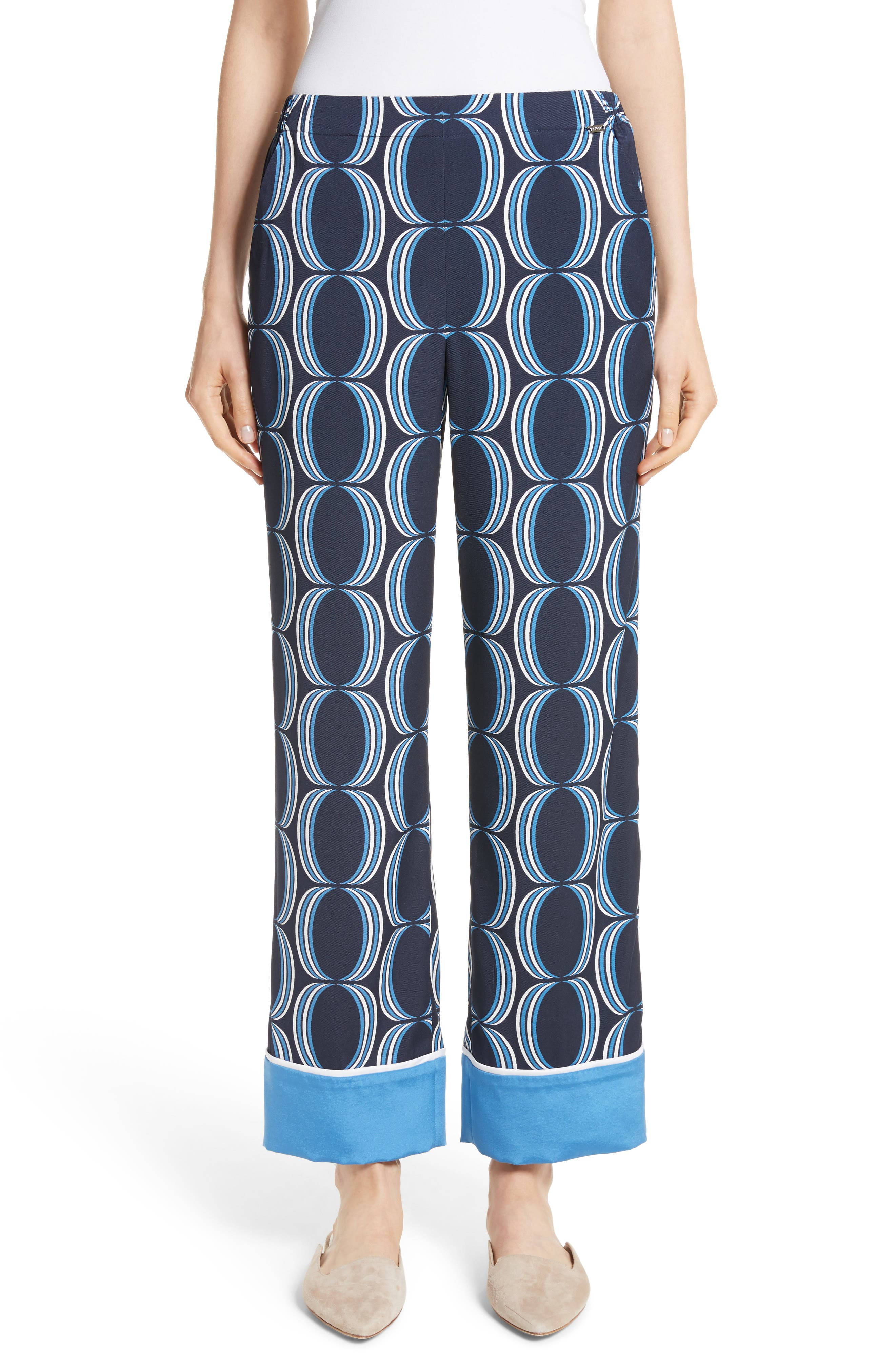 Oval Print Stretch Silk Twill Pants,                         Main,                         color, Navy Multi
