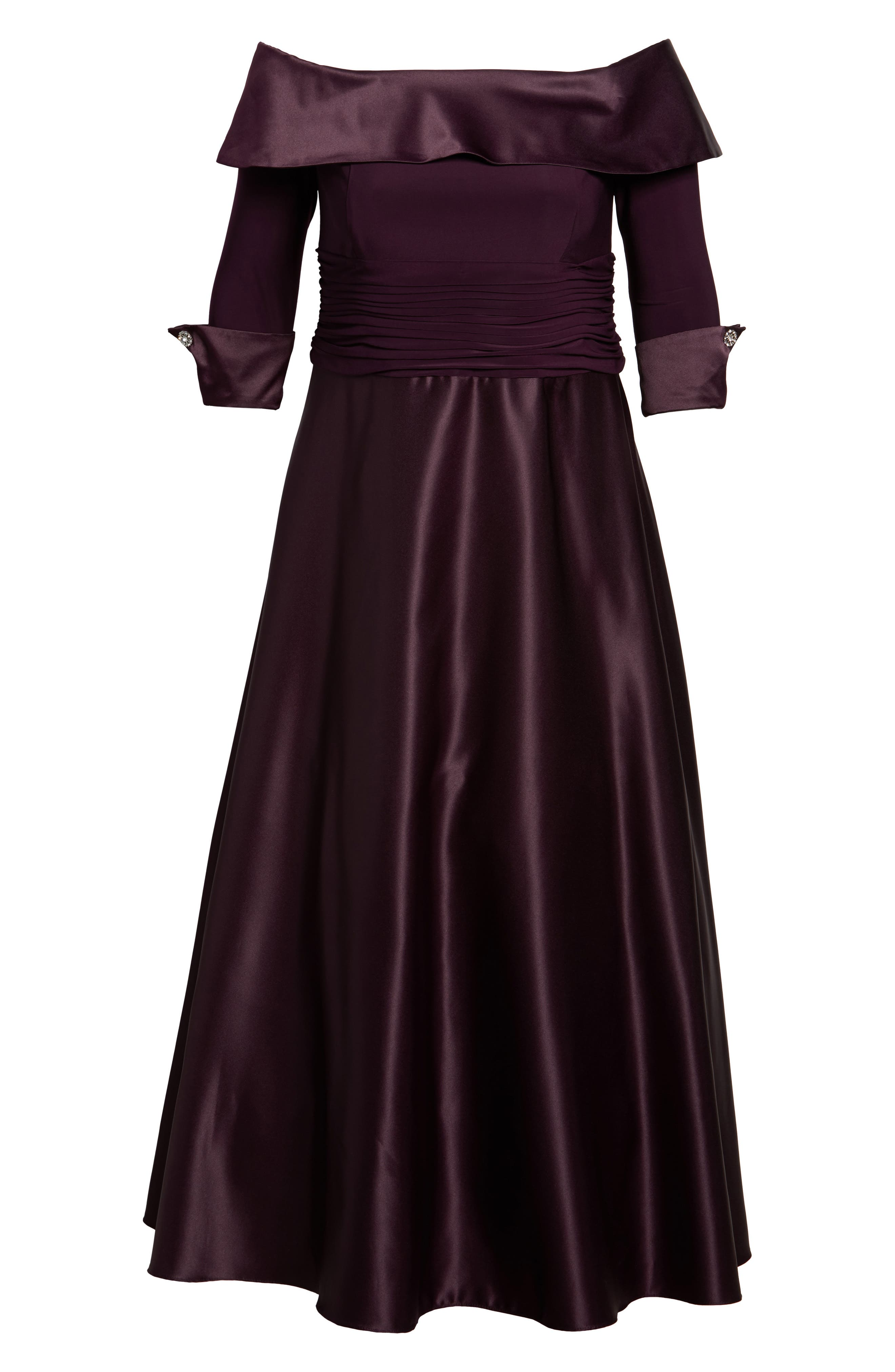 Off the Shoulder Mixed Media Gown,                             Alternate thumbnail 6, color,                             Plum