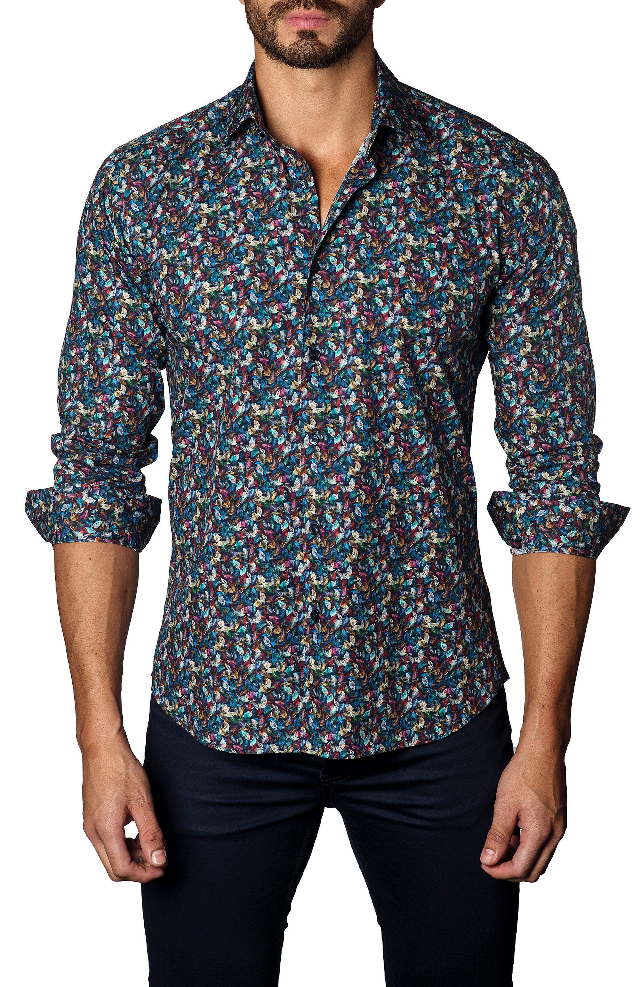 Trim Fit Leaf Print Sport Shirt,                         Main,                         color, Navy / Multi Micro Feather