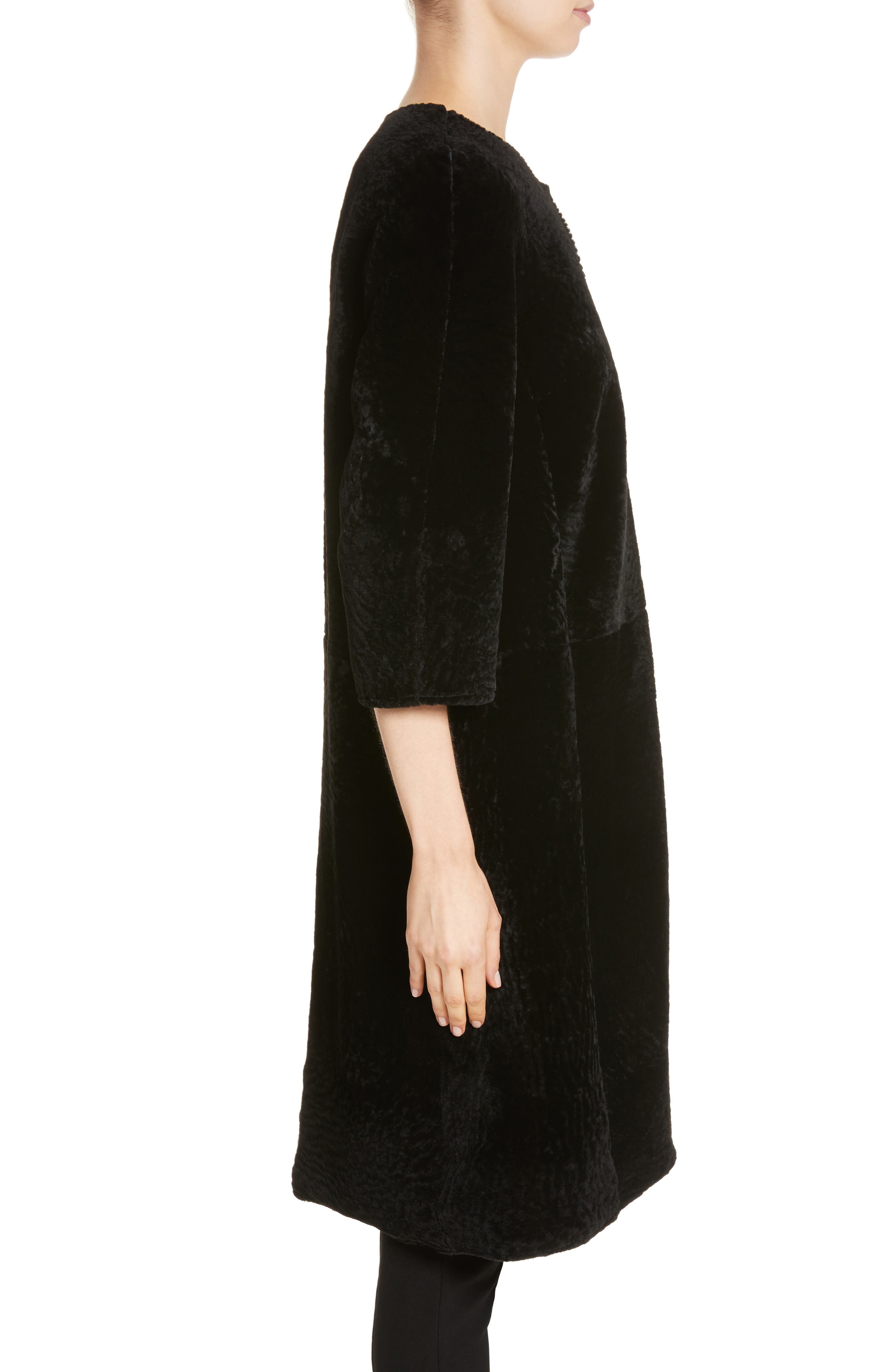 Genuine Textured Lamb Fur Jacket,                             Alternate thumbnail 4, color,                             Caviar