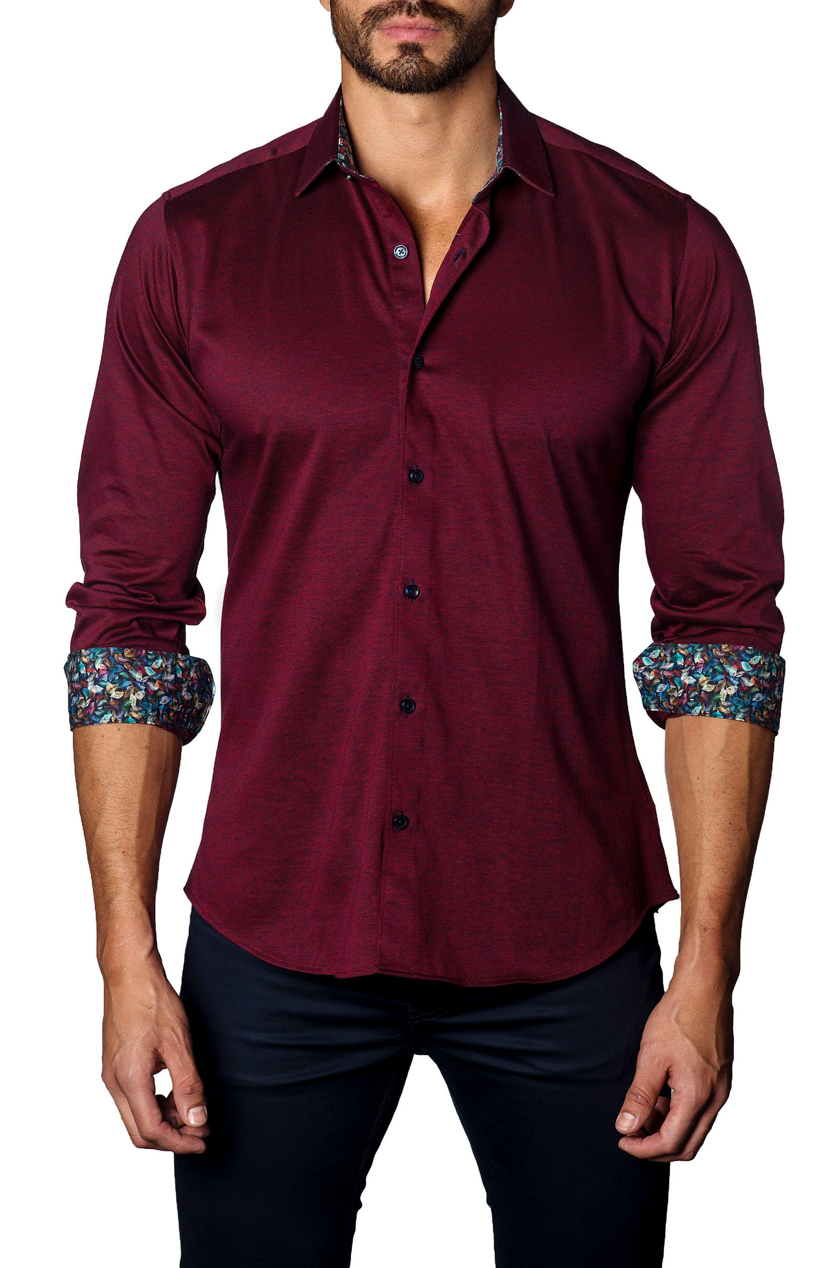 Trim Fit Jewel Tone Sport Shirt,                         Main,                         color, Red Knit