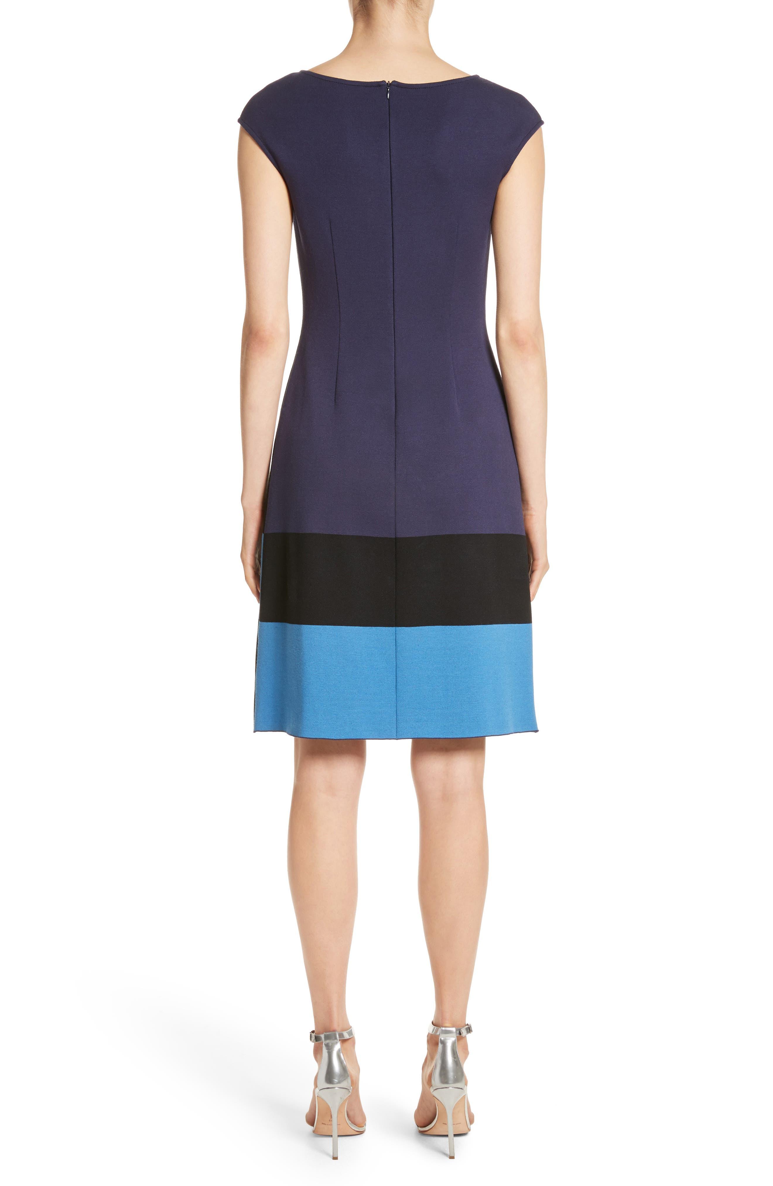 Colorblock Milano Knit Dress,                             Alternate thumbnail 2, color,                             Navy Multi
