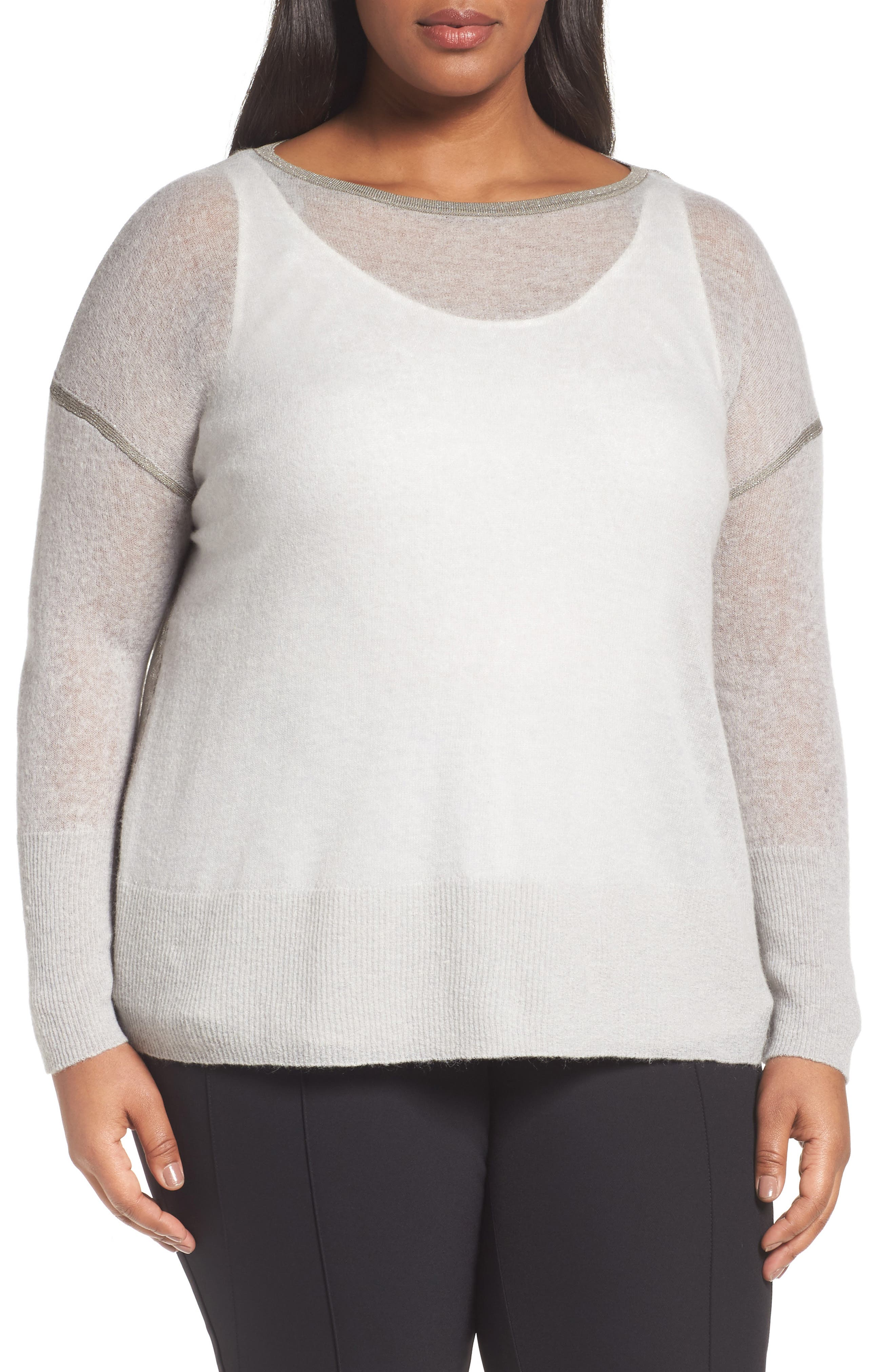 Shimmer Trim Sweater with Tank,                         Main,                         color, Antique Silver