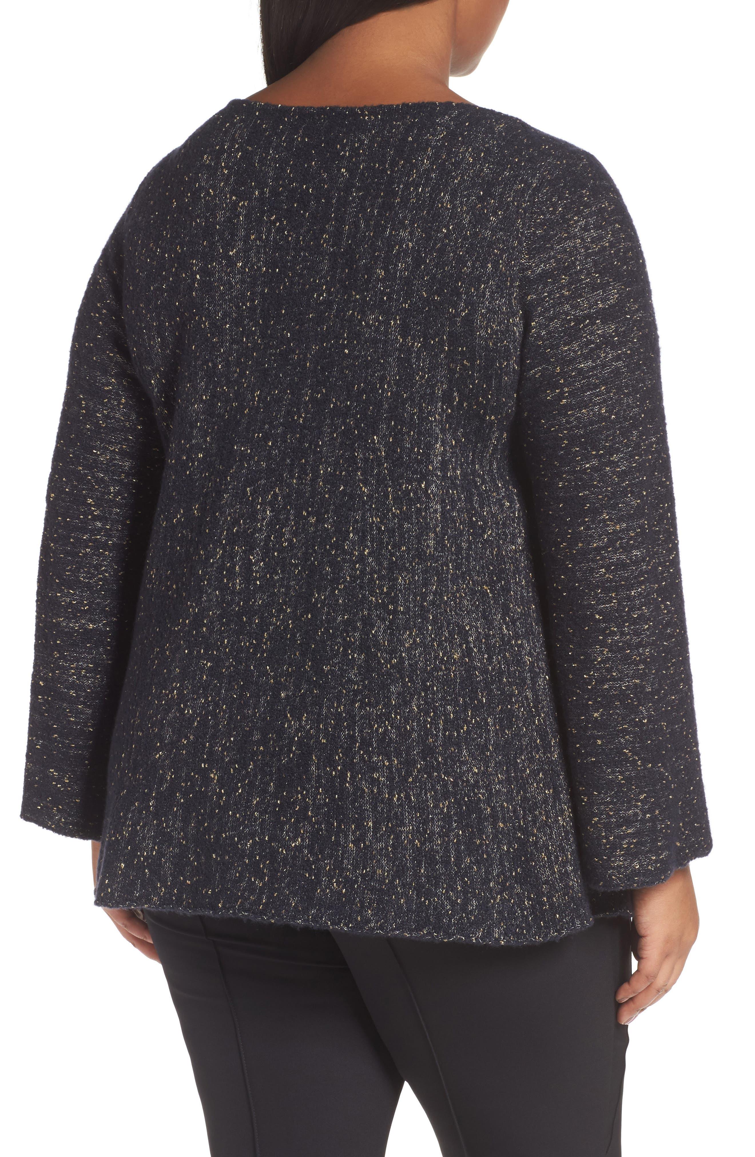 Alternate Image 2  - Lafayette 148 Metallic Knit A-Line Sweater (Plus Size)