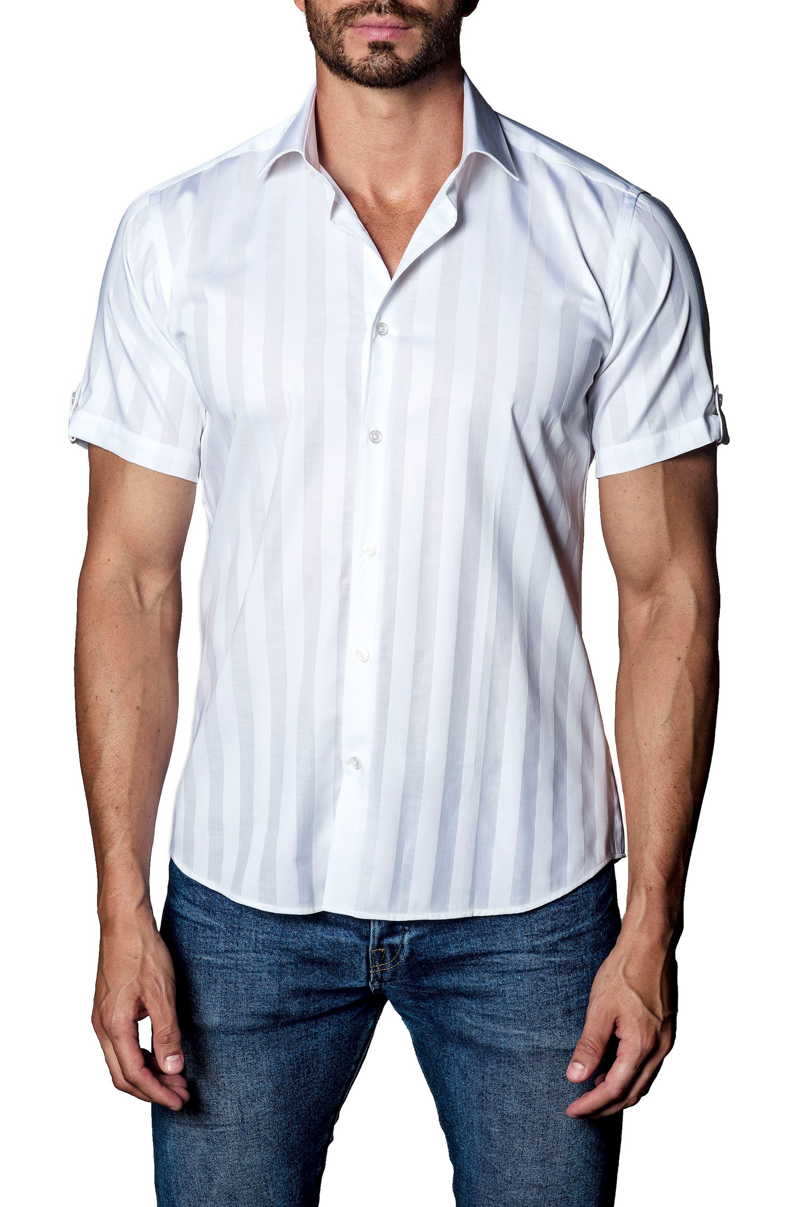 Stripe Sport Shirt,                             Main thumbnail 1, color,                             White Stripe Jacquard