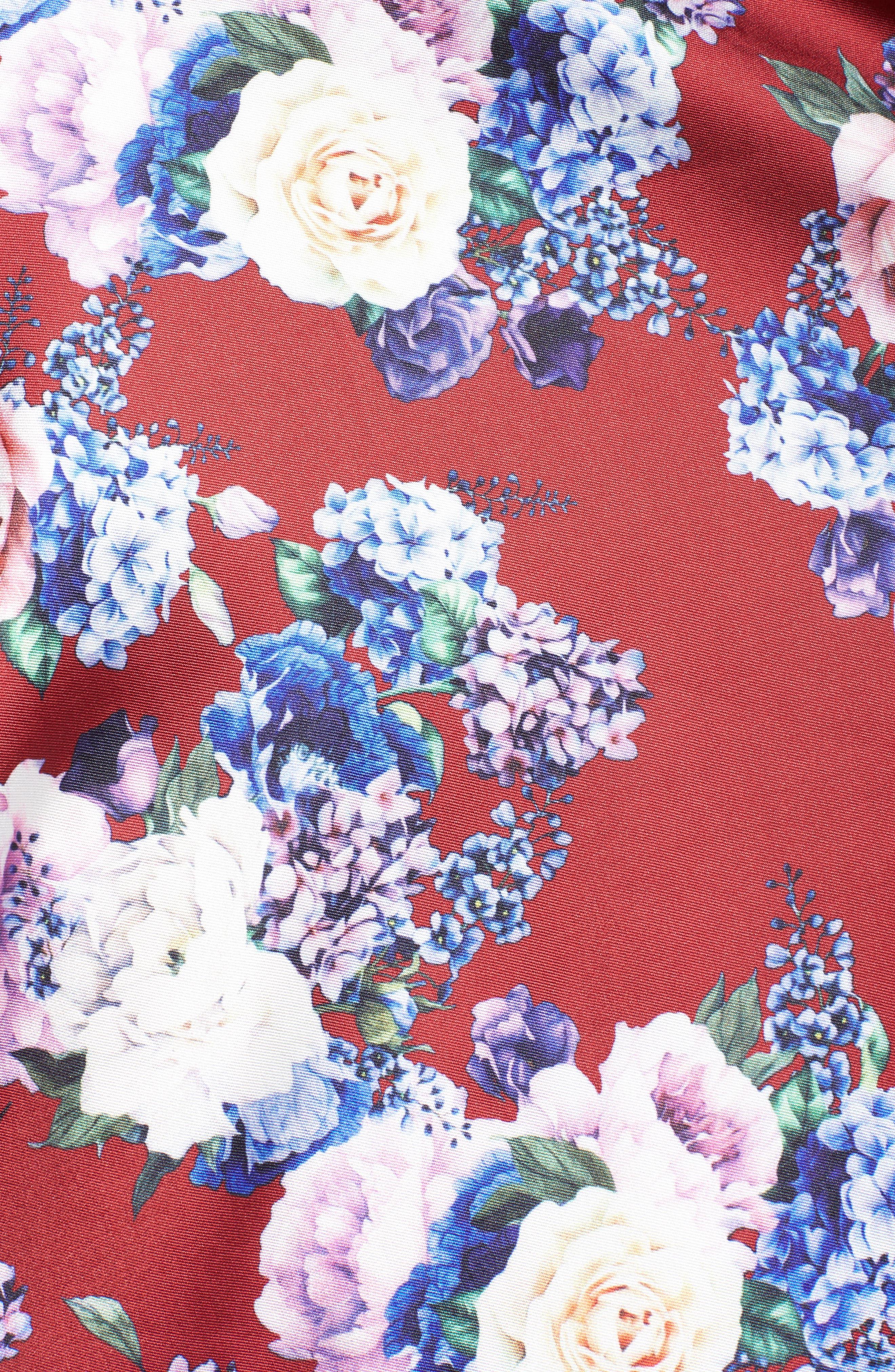 Floral Fit & Flare Dress,                             Alternate thumbnail 5, color,                             Burgundy/ Multi