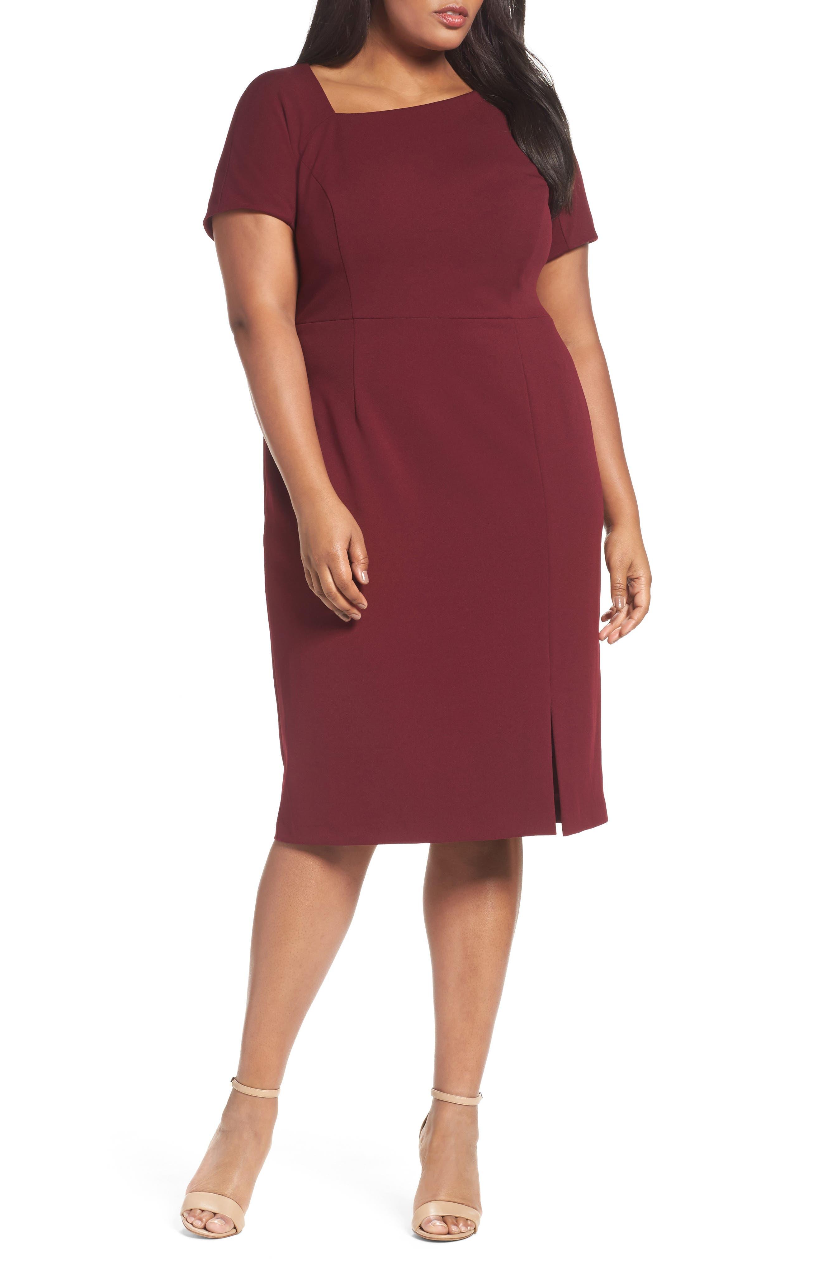 Asymmetrical Neck Sheath Dress,                             Main thumbnail 1, color,                             Burgundy