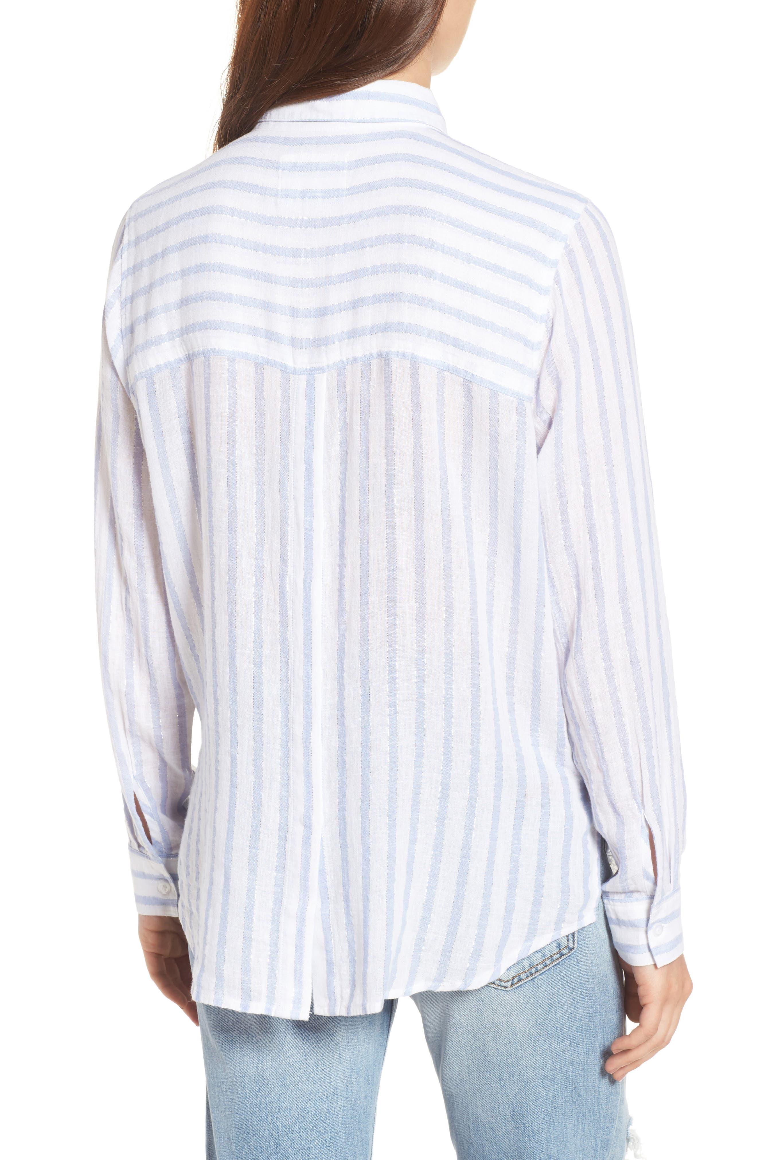 Sydney Vertical Shimmer Stripe Linen Blend Shirt,                             Alternate thumbnail 2, color,                             Cornflower Stripe/ Silver