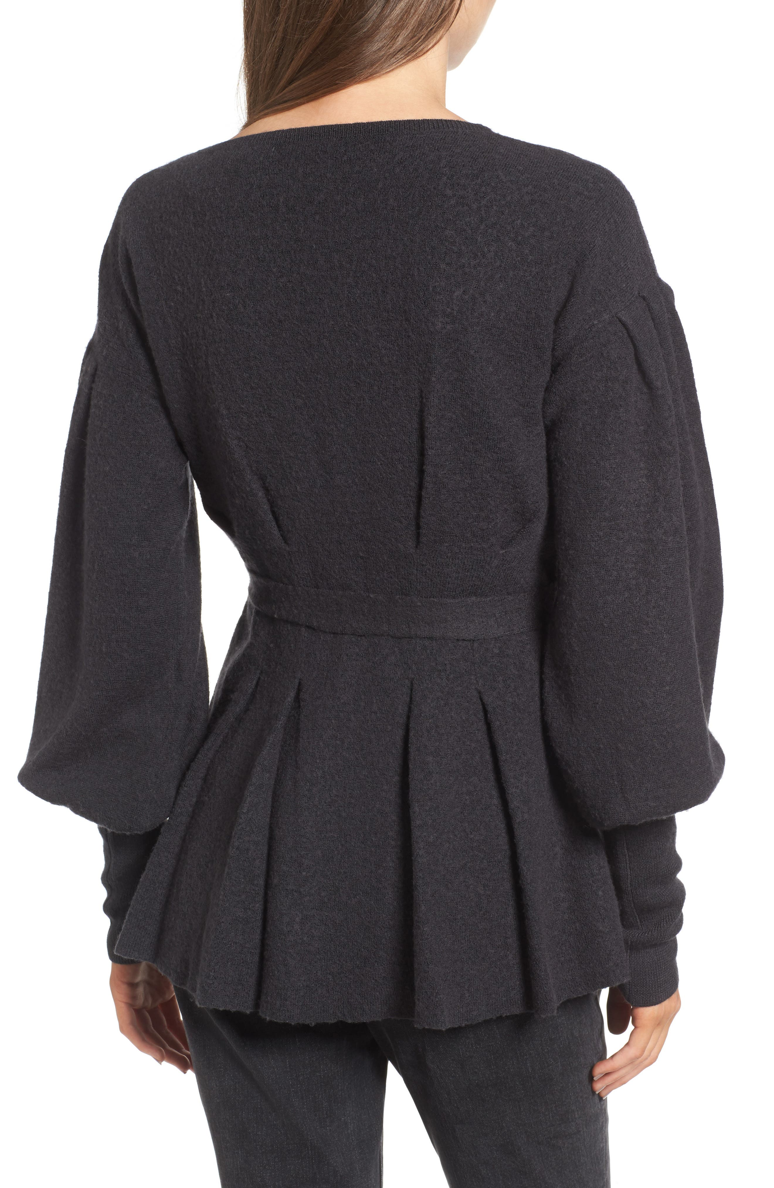 x Something Navy Wrap Cardigan,                             Alternate thumbnail 3, color,                             Grey Dark Charcoal Heather