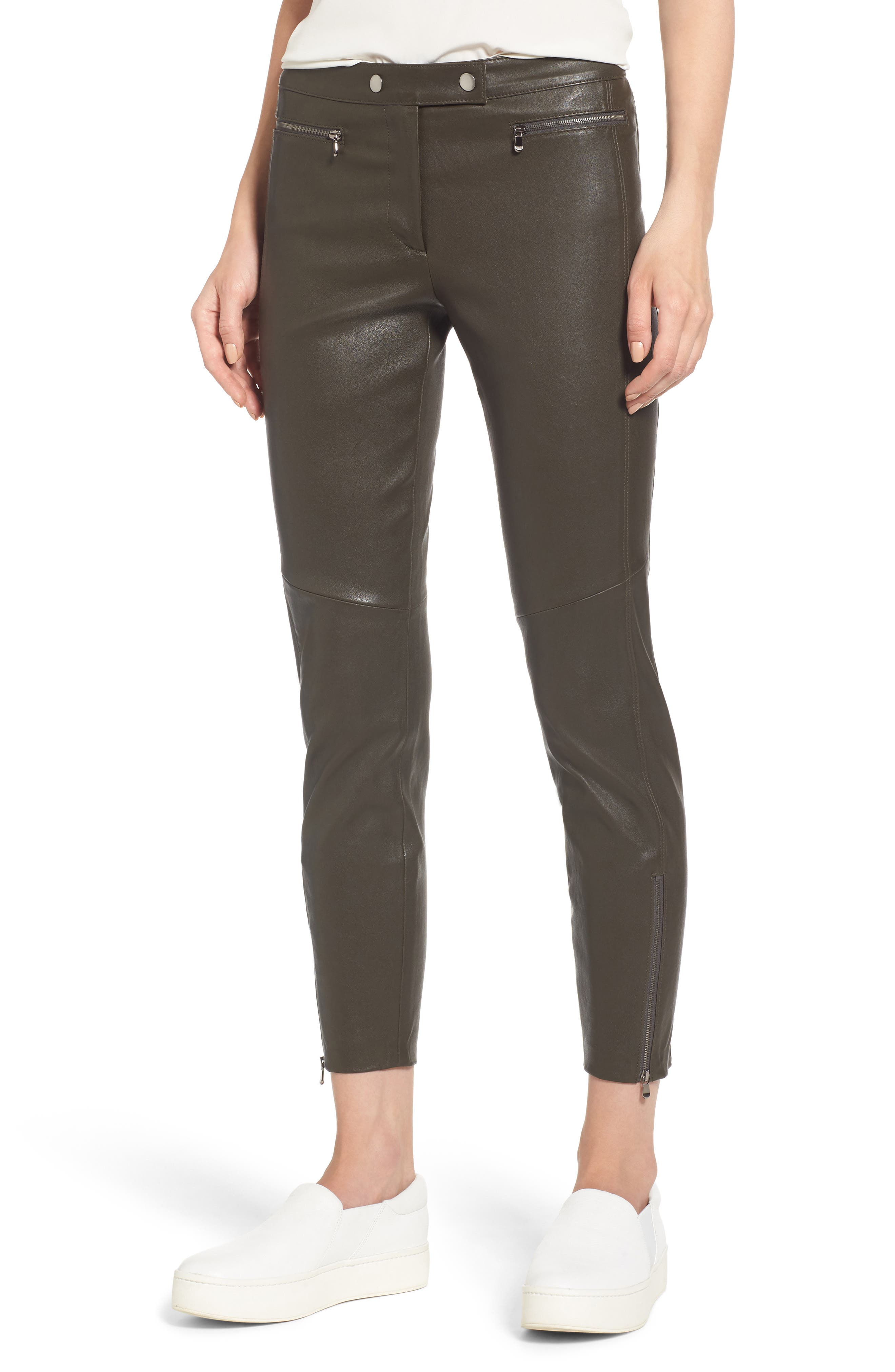 Main Image - Nordstrom Signature Stretch Leather Biker Pants
