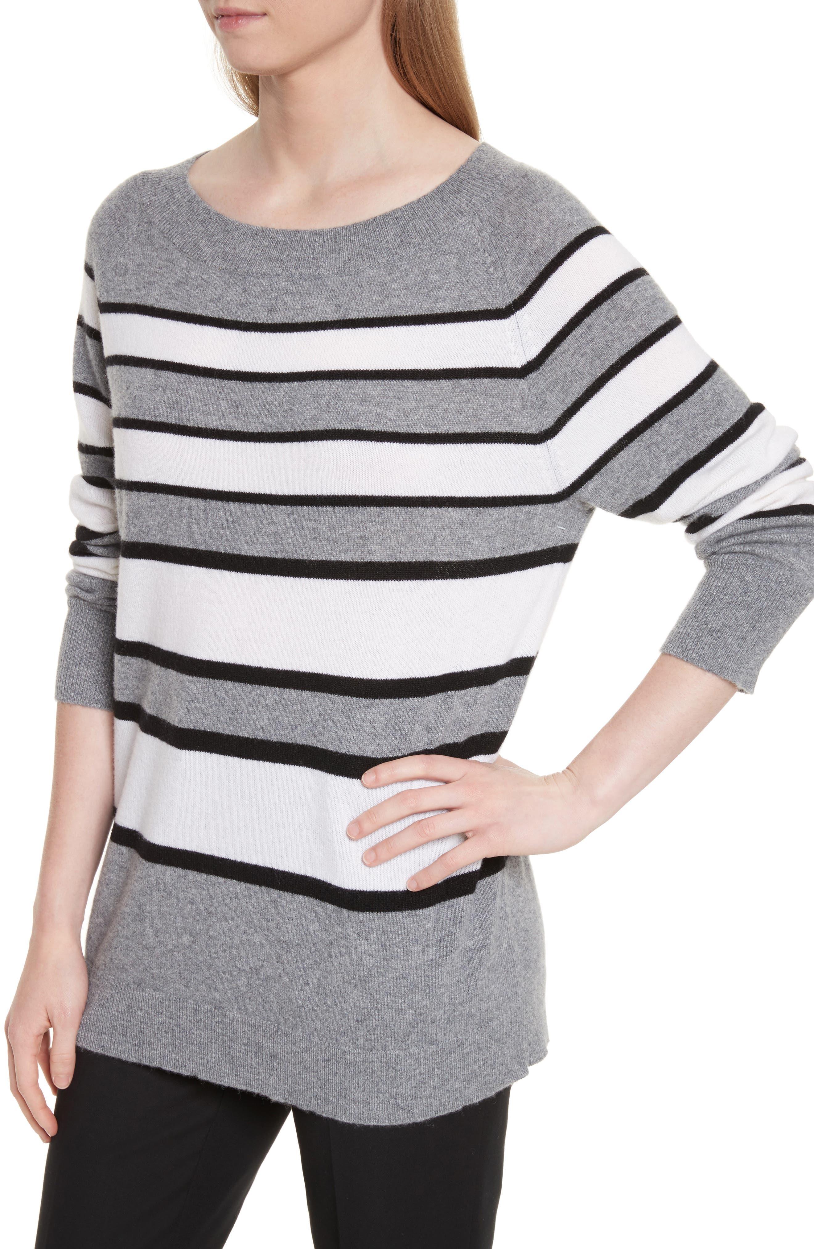 Cody Stripe Cashmere Boat Neck Sweater,                             Alternate thumbnail 4, color,                             Heather Grey Multi