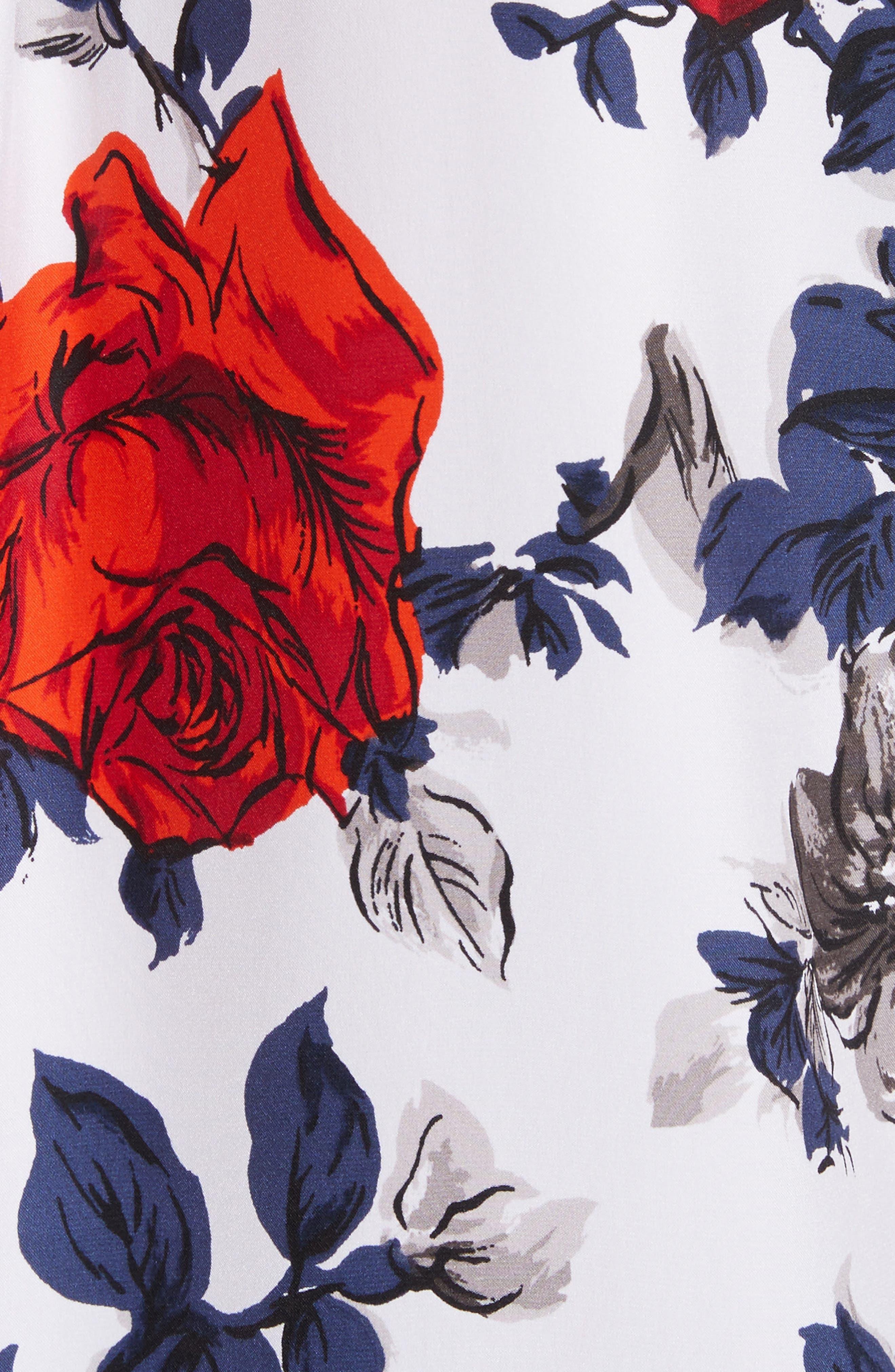 Signature Floral Silk Shirt,                             Alternate thumbnail 5, color,                             Bright White Multi