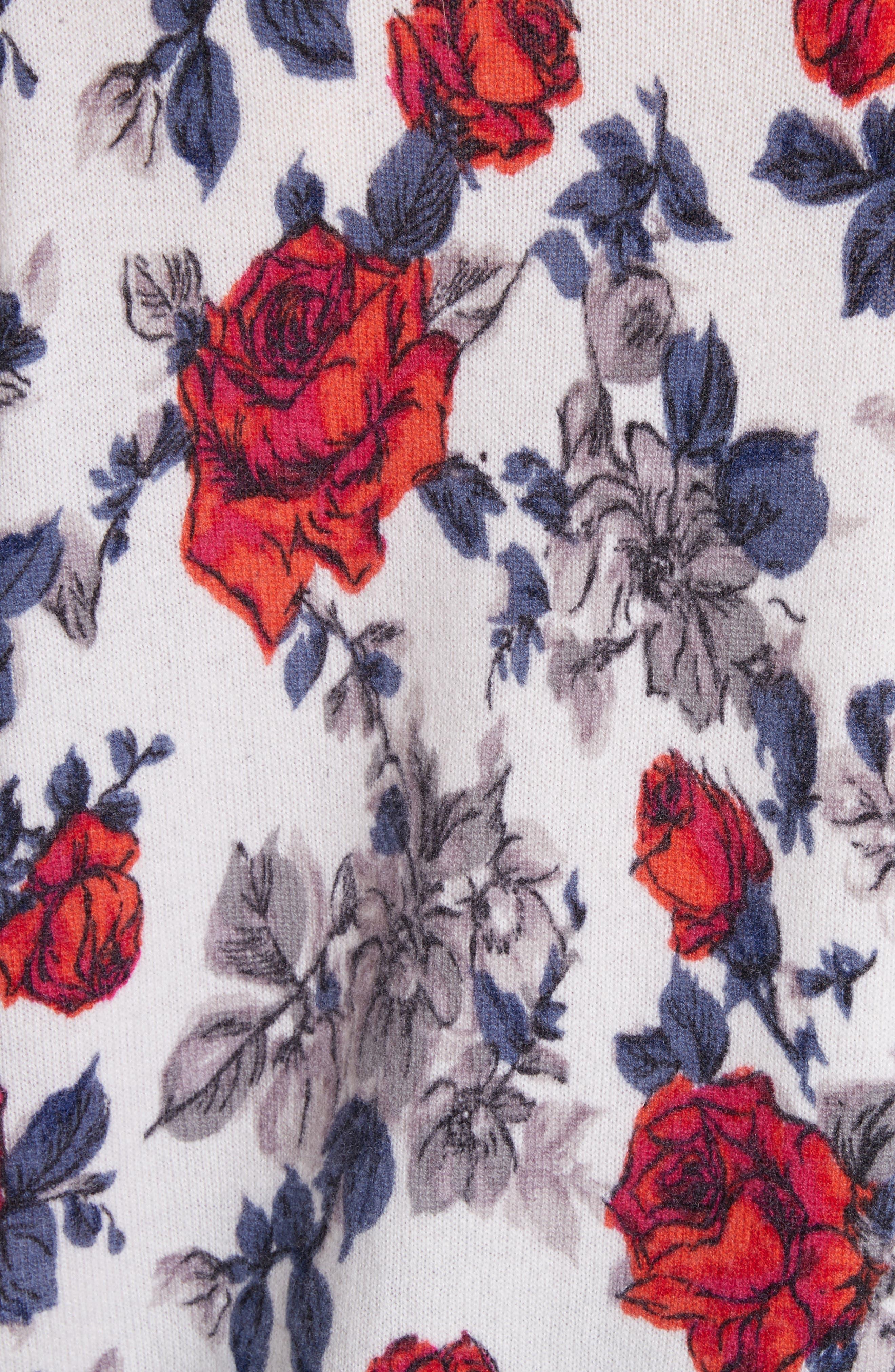 Melanie Flower Print Cashmere Sweater,                             Alternate thumbnail 5, color,                             Ivory Multi
