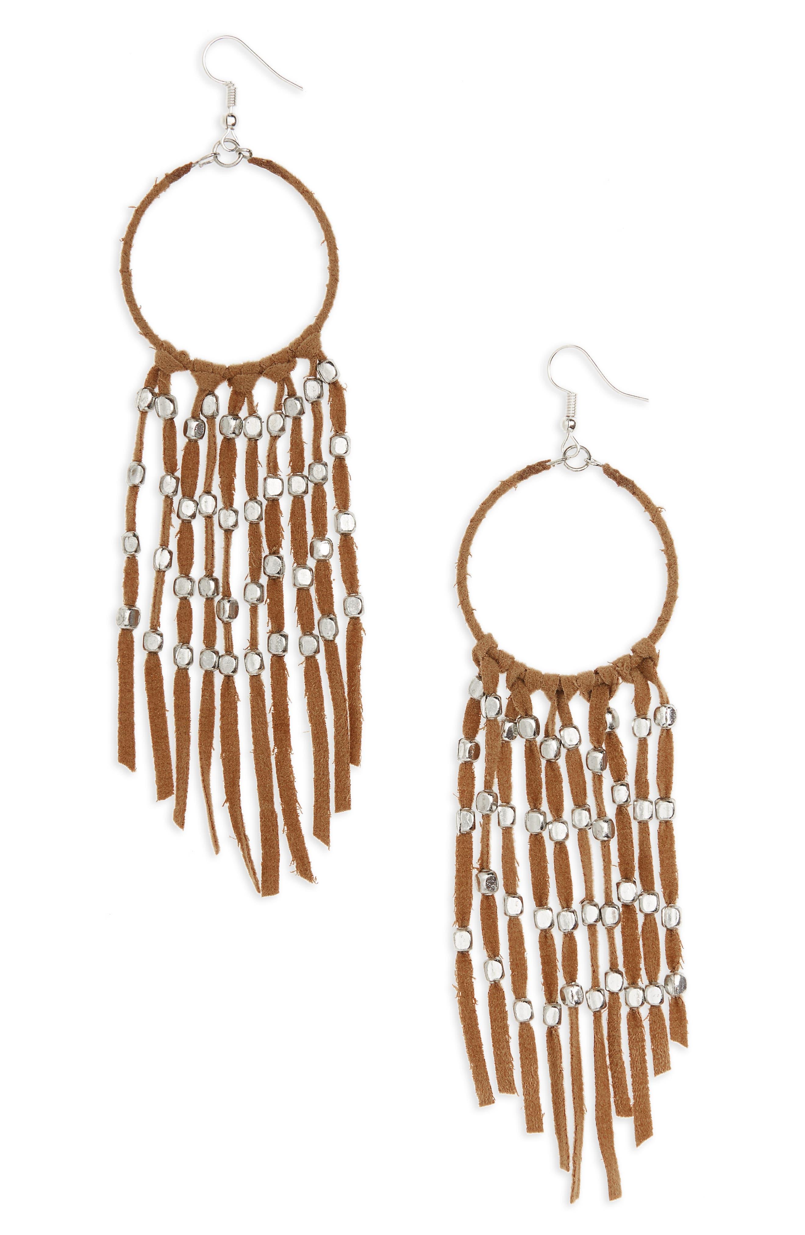 Suede Fringe Earrings,                         Main,                         color, Multi/ Silver