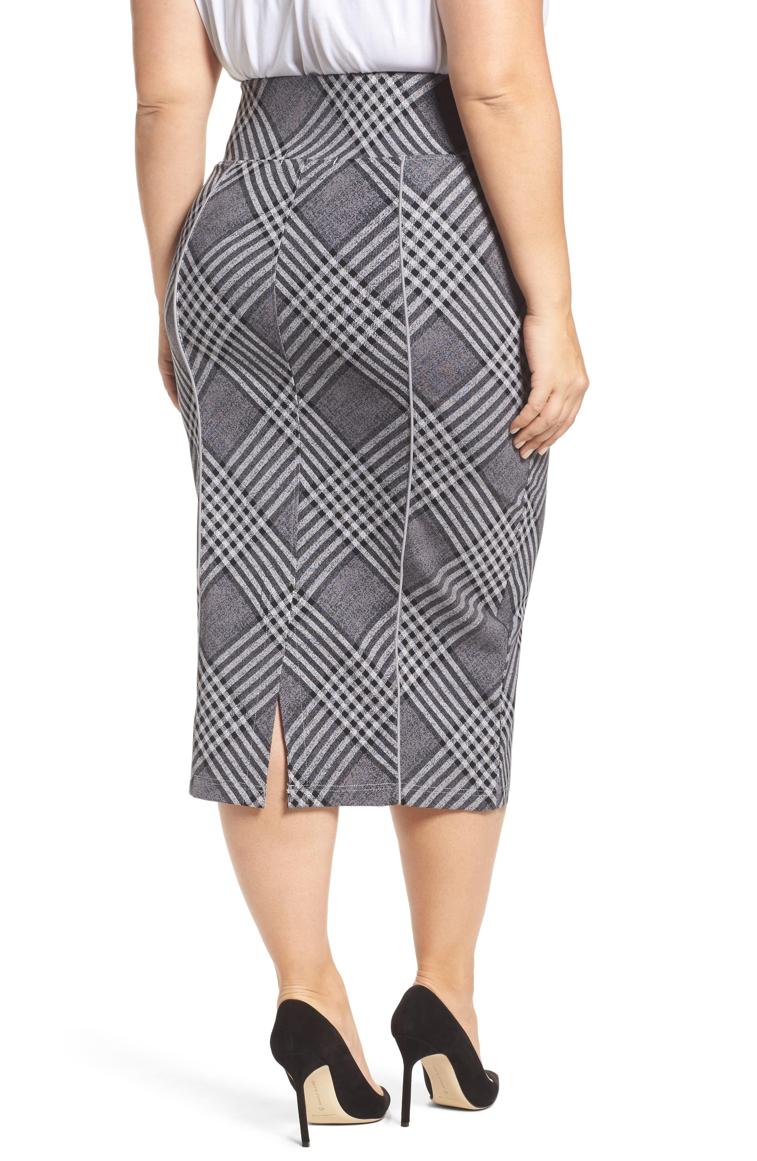 Alternate Image 2  - Melissa McCarthy Seven7 Plaid Pencil Skirt (Plus Size)