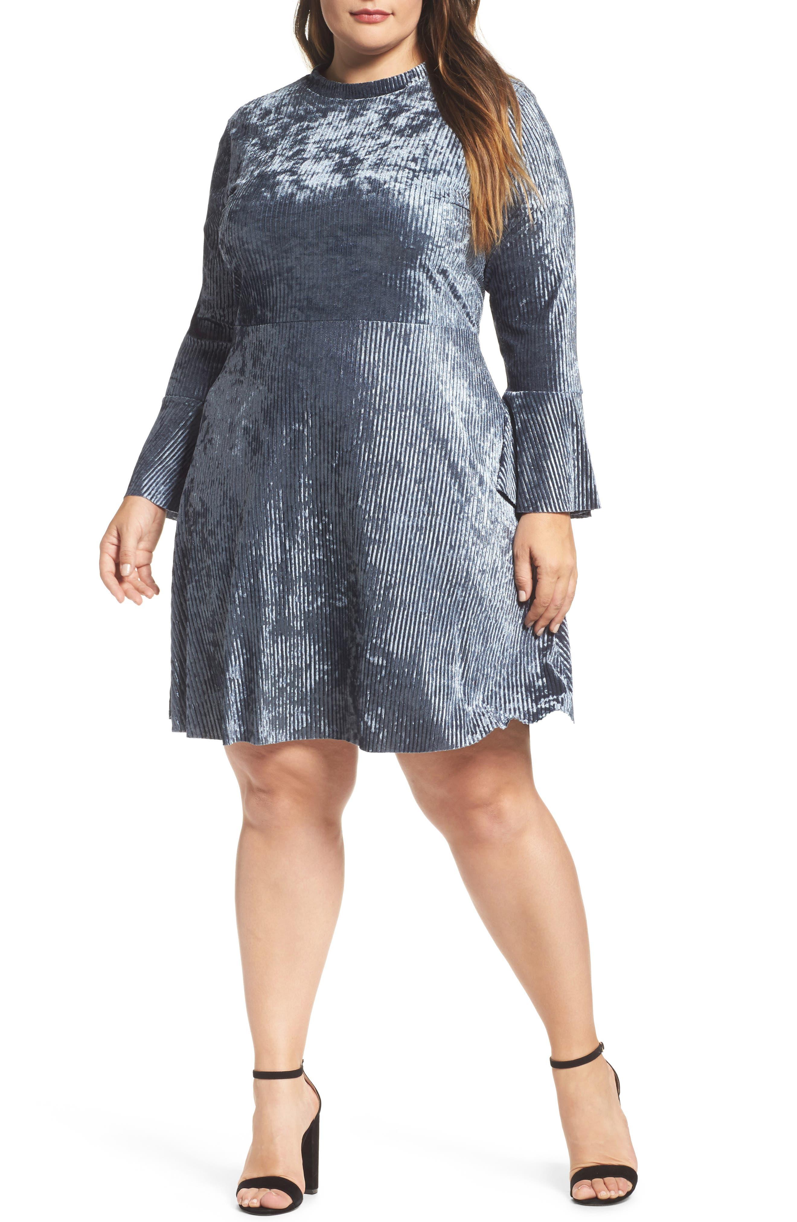 Plissé Velvet Bell Sleeve Dress,                         Main,                         color, Blue