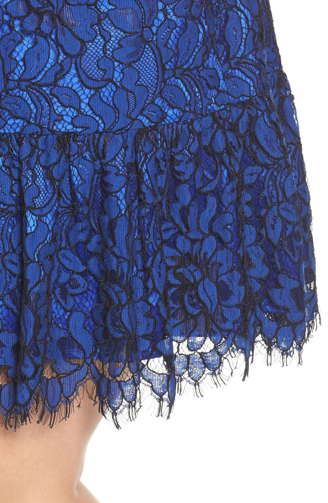 Lace Cold Shoulder Dress,                             Alternate thumbnail 4, color,                             Cobalt/ Black
