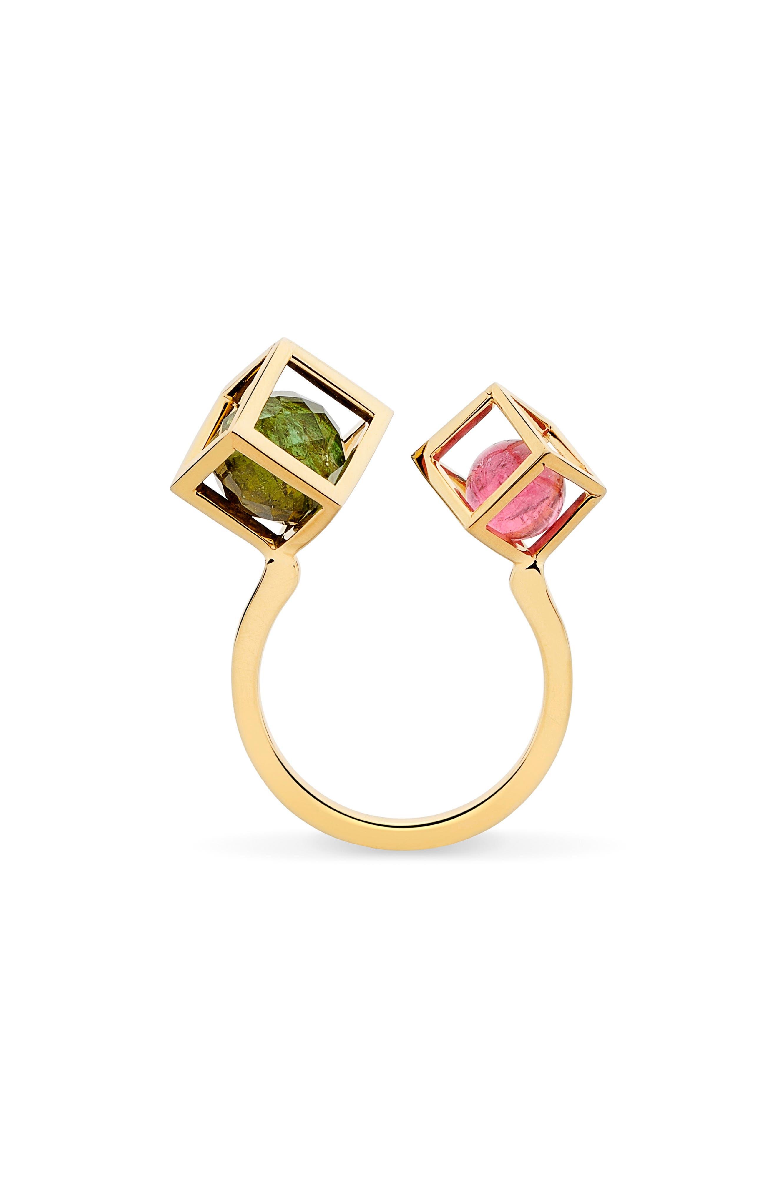 Duo Solo Tourmaline Open Ring,                         Main,                         color, Green/ Pink Tourmaline