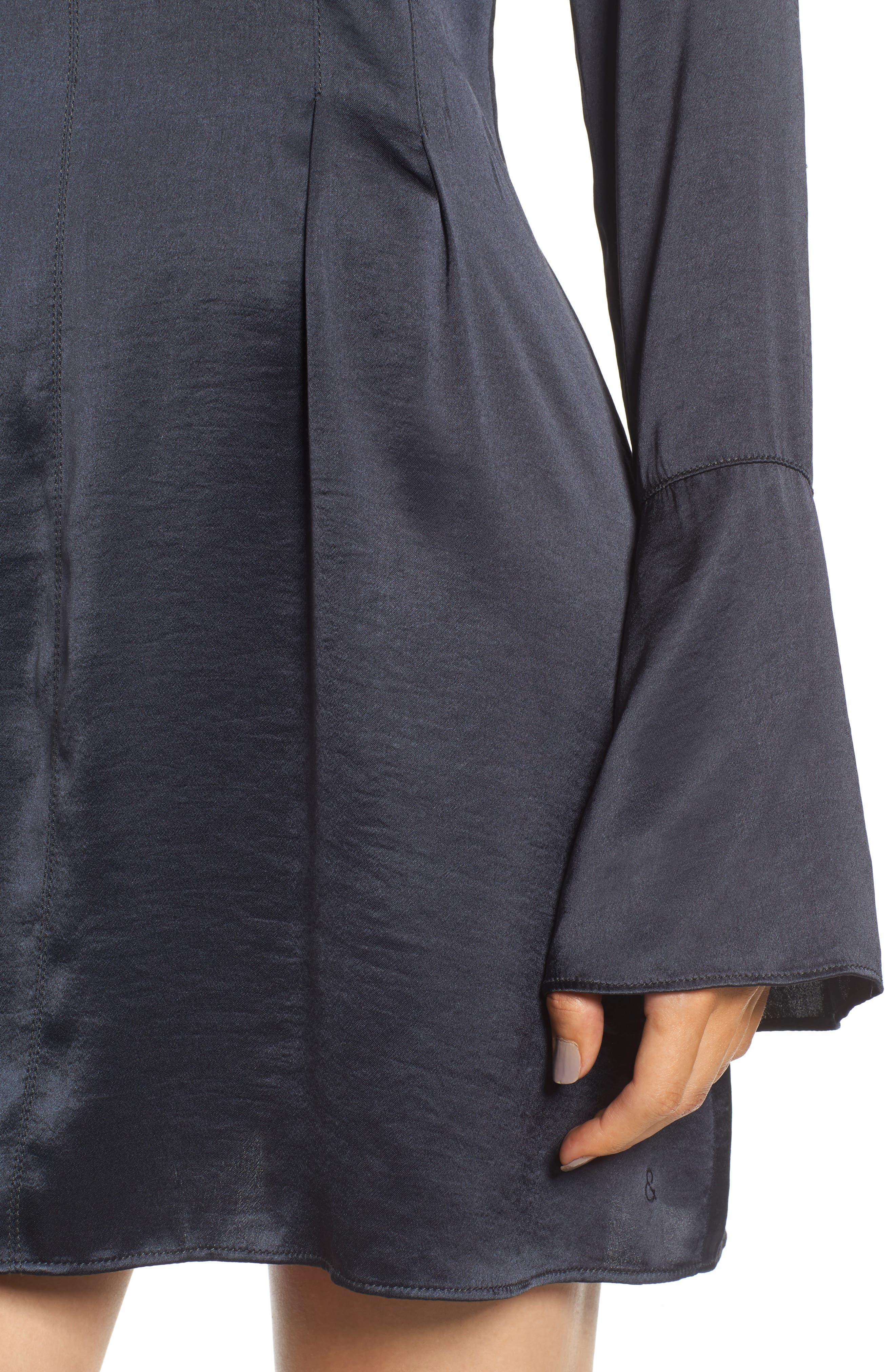 x Something Navy Bell Sleeve Minidress,                             Alternate thumbnail 6, color,                             Grey Phantom