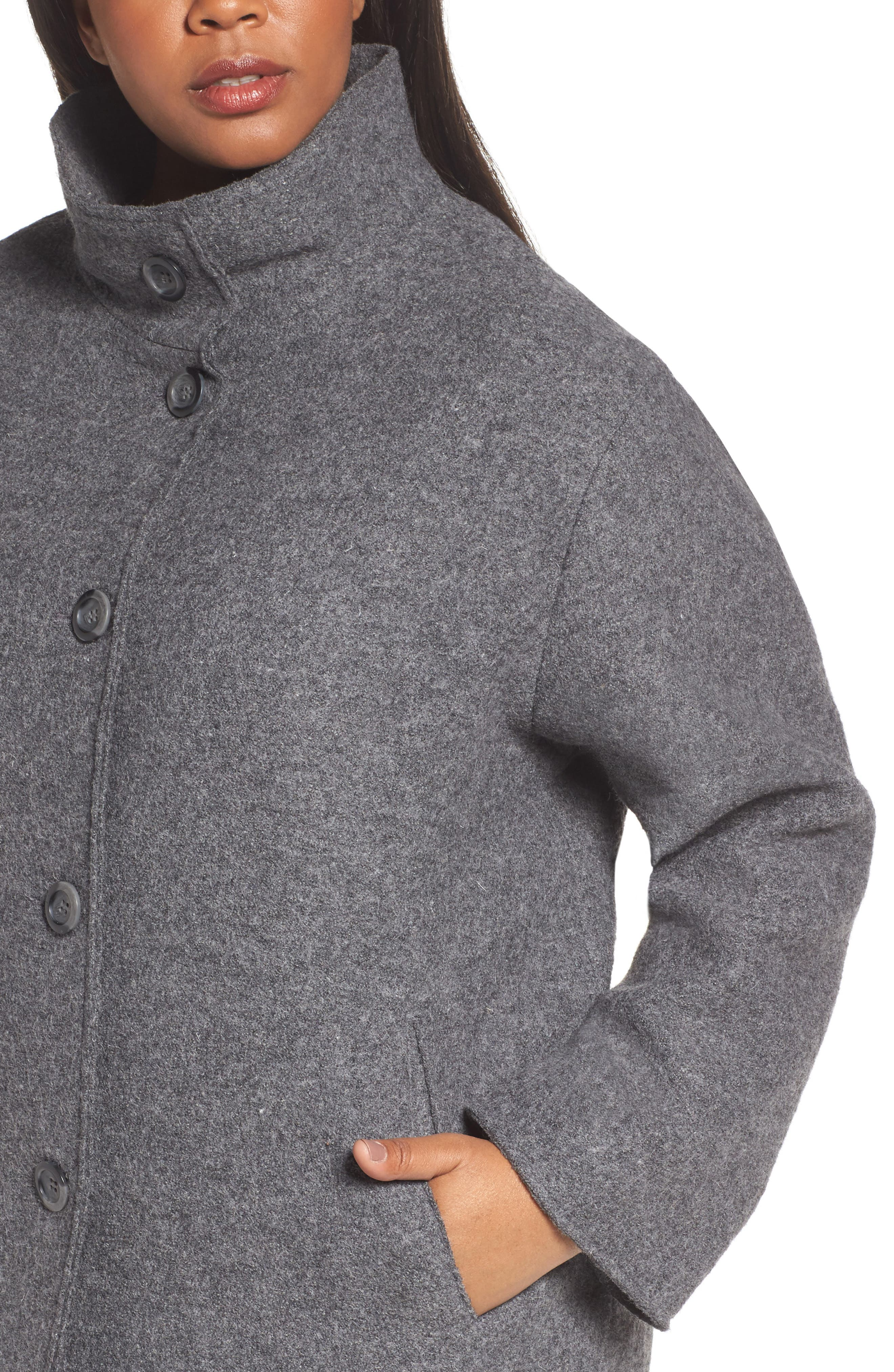 Wool Blend Coat,                             Alternate thumbnail 4, color,                             Medium Charcoal