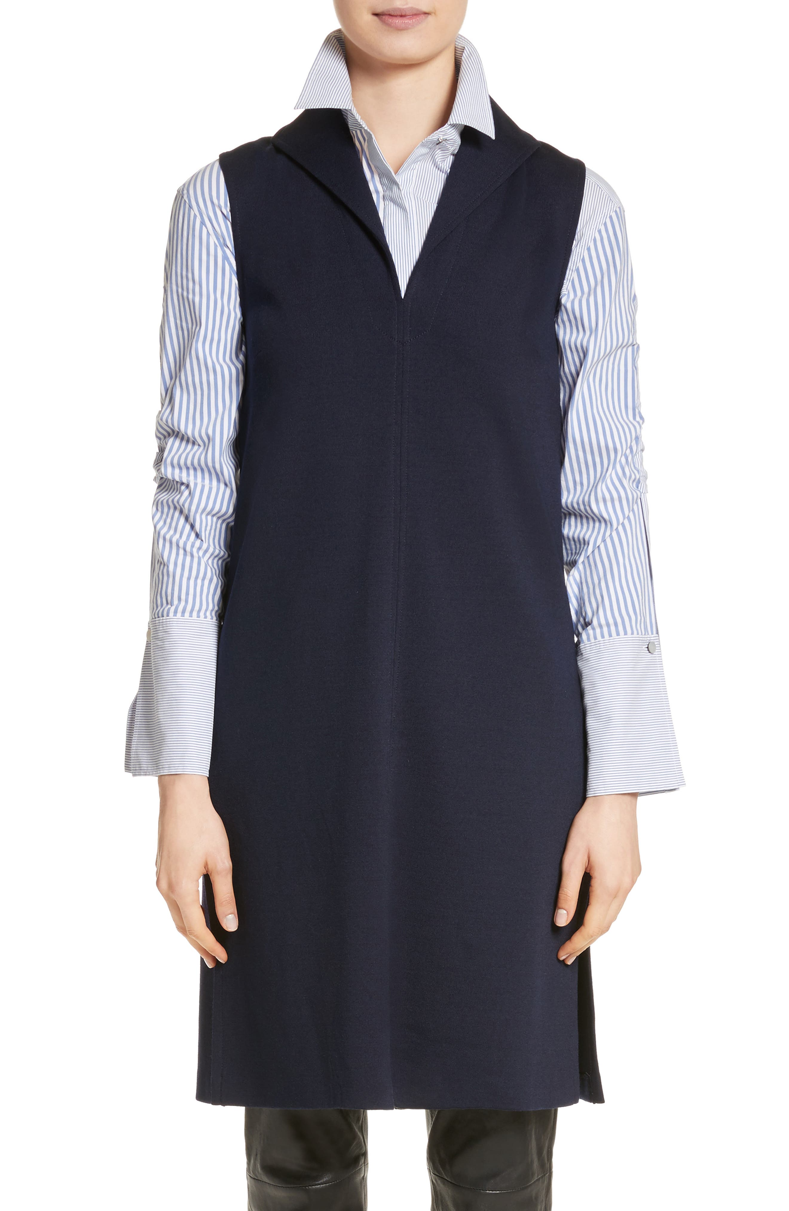 St John Collection Milano Knit Collared Tunic,                         Main,                         color, Navy