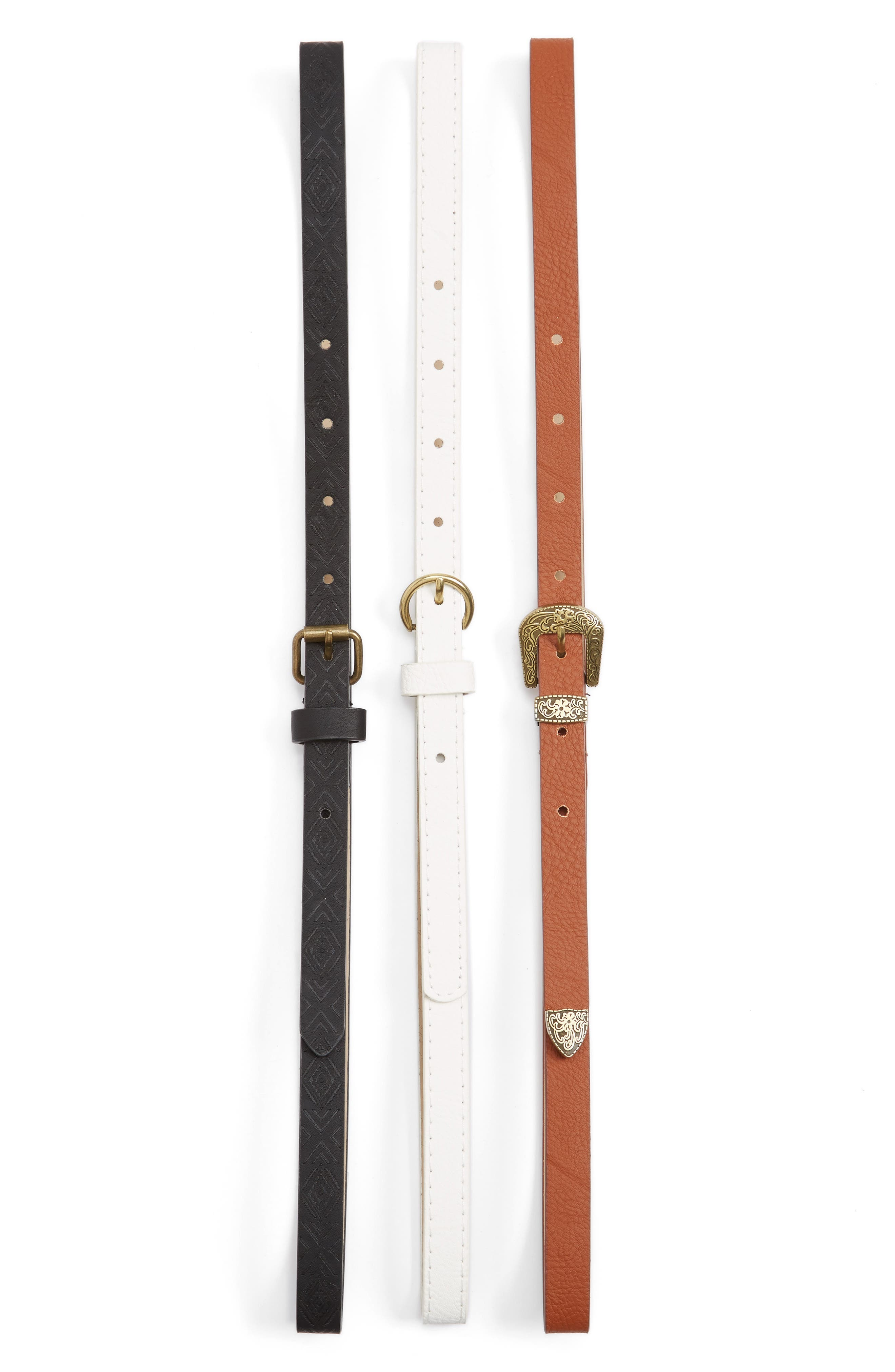 3-Pack Belts,                         Main,                         color, Multi White/ Black/ Brown