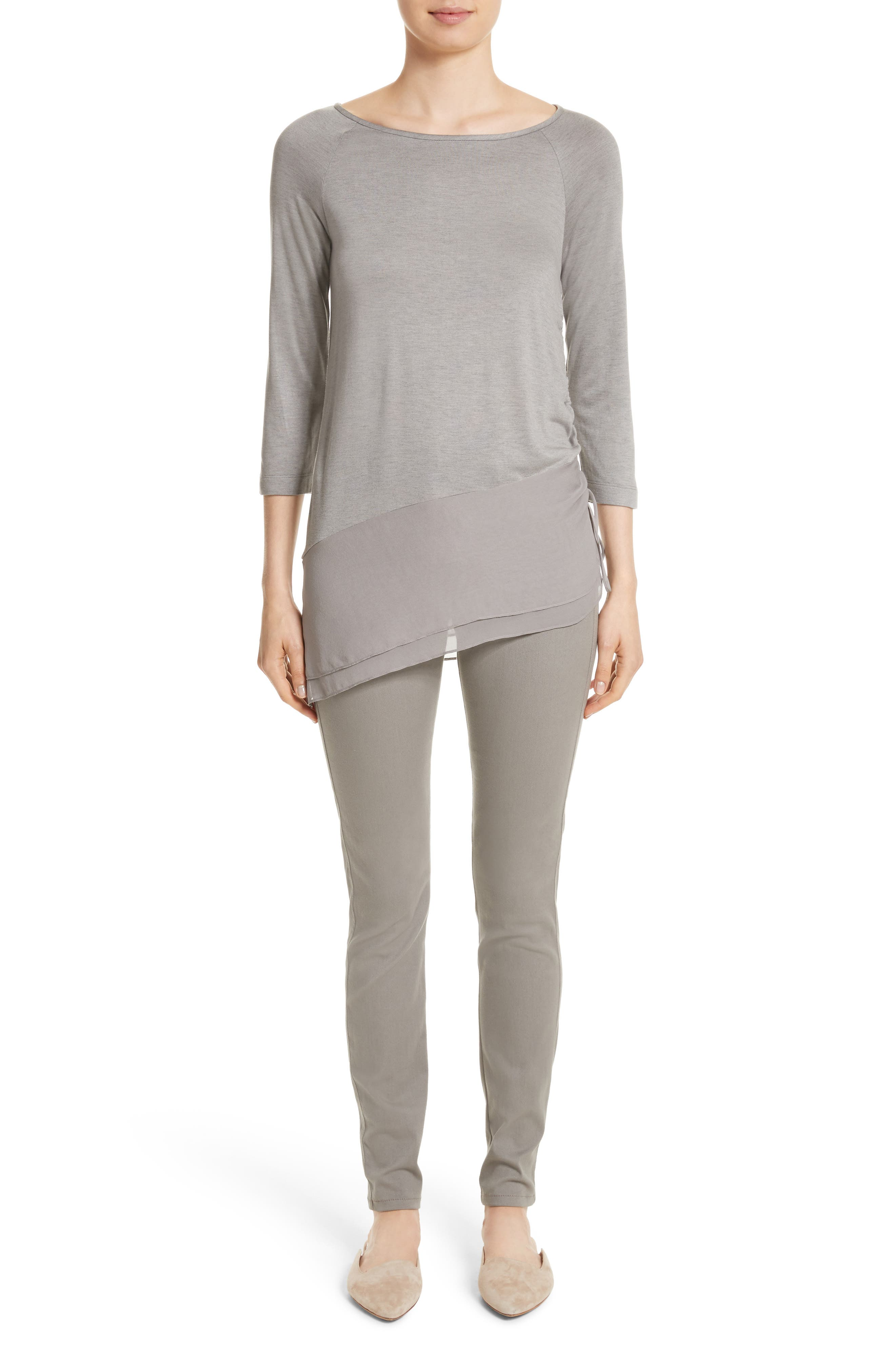 Alternate Image 4  - St. John Collection Silk Georgette & Jersey Asymmetrical Blouse